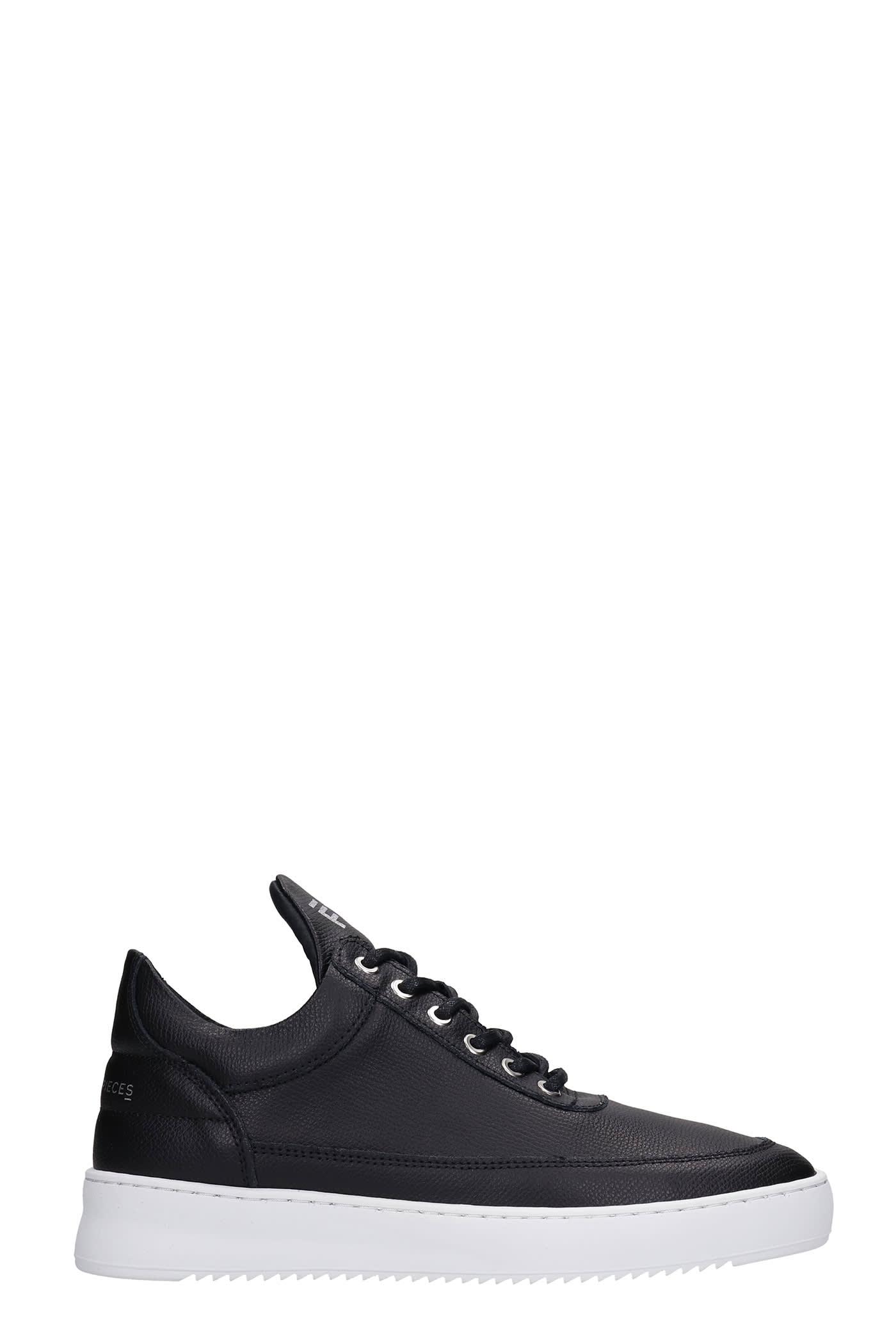 Low Top Ripple Sneakers In Black Leather