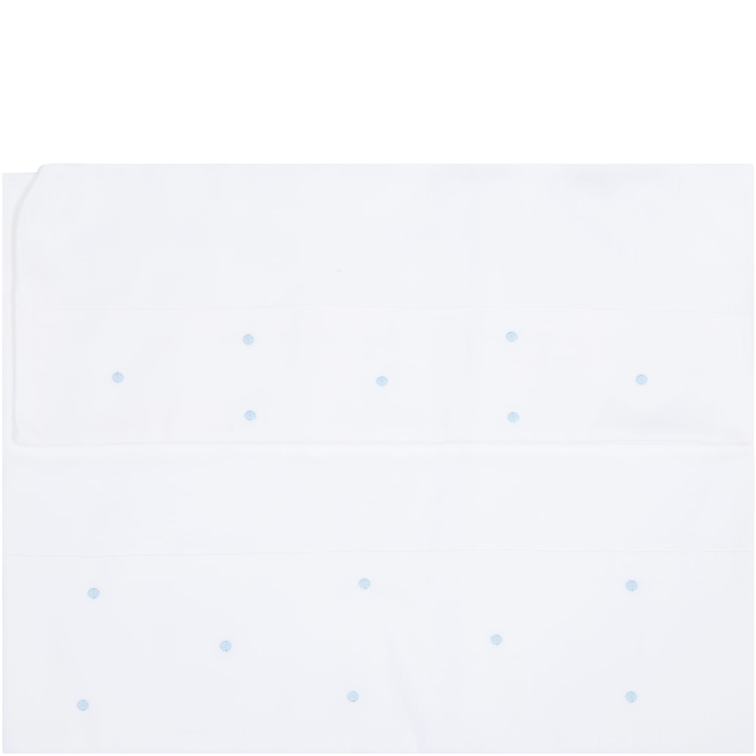 White Set For Babyboy With Light Blue Polka-dots