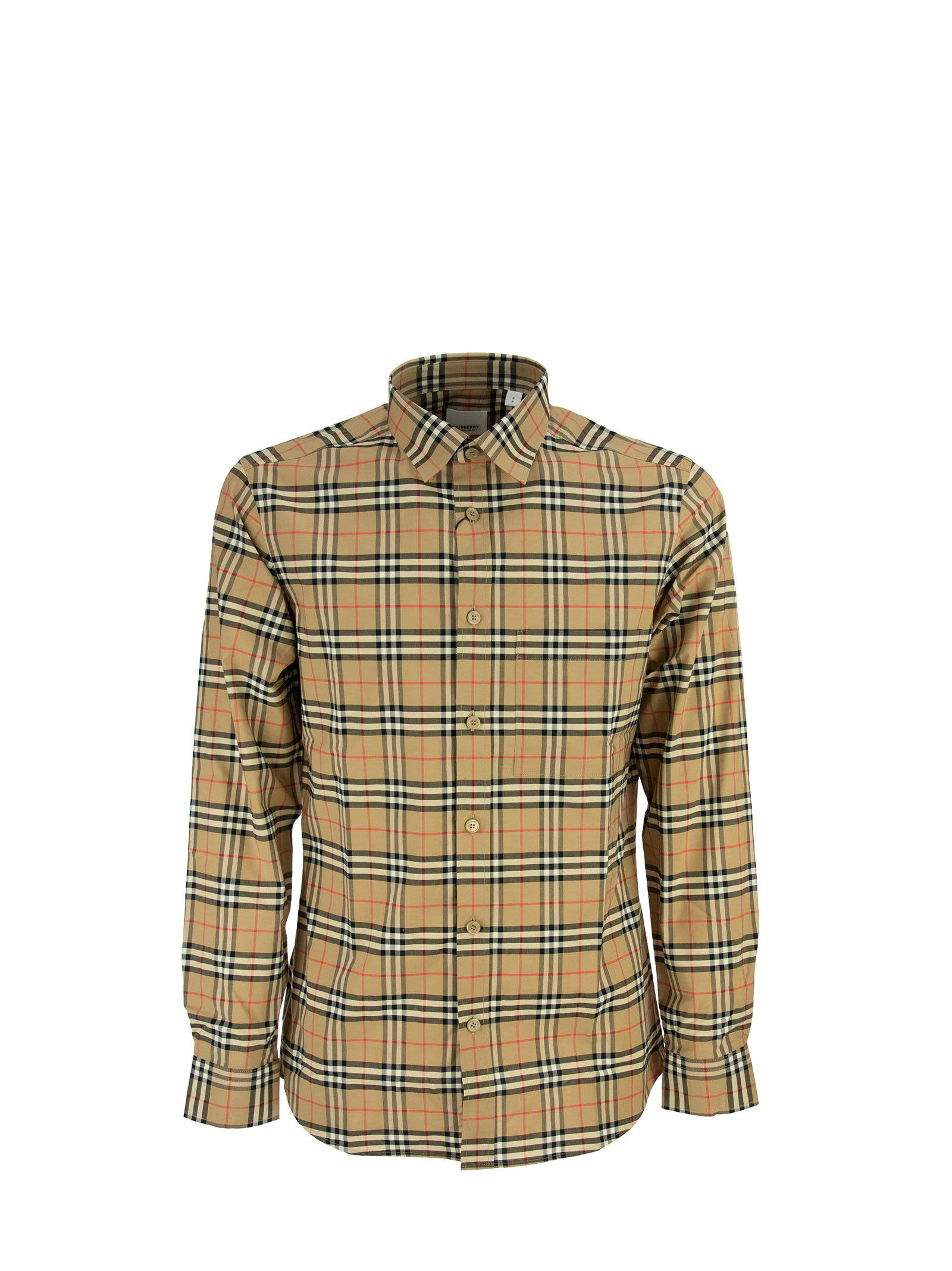 Burberry Cottons SMALL SCALE CHECK STRETCH COTTON SHIRT SIMPSON ARCHIVE BEIGE