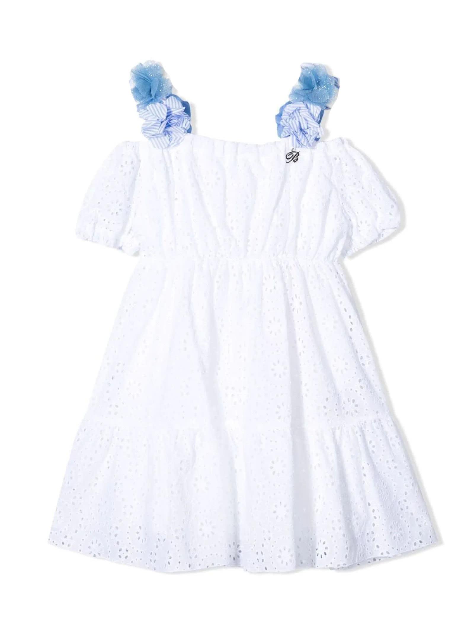Buy Miss Blumarine White Cotton Dress online, shop Miss Blumarine with free shipping