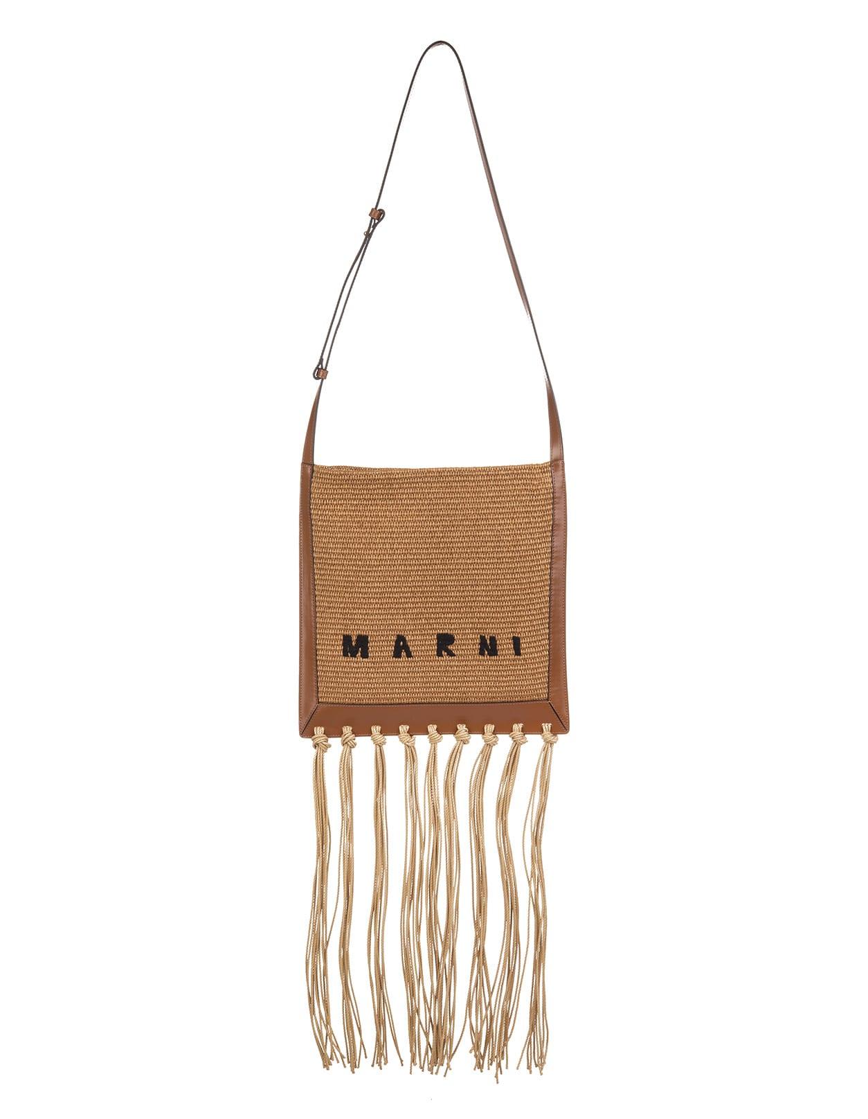 Marni RAFFIA/LEATHER FRINGE CROSSBODY BAG