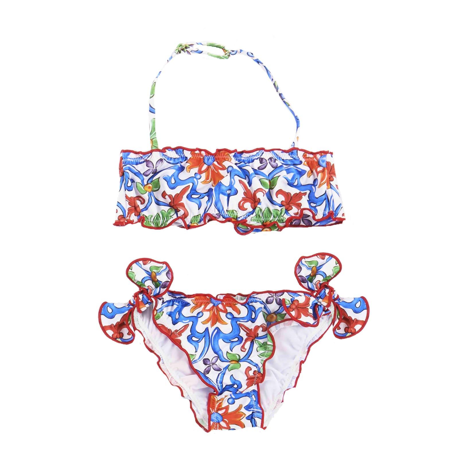 MC2 Saint Barth Maiolica Print Frou Frou Girl Bandeau Bikini