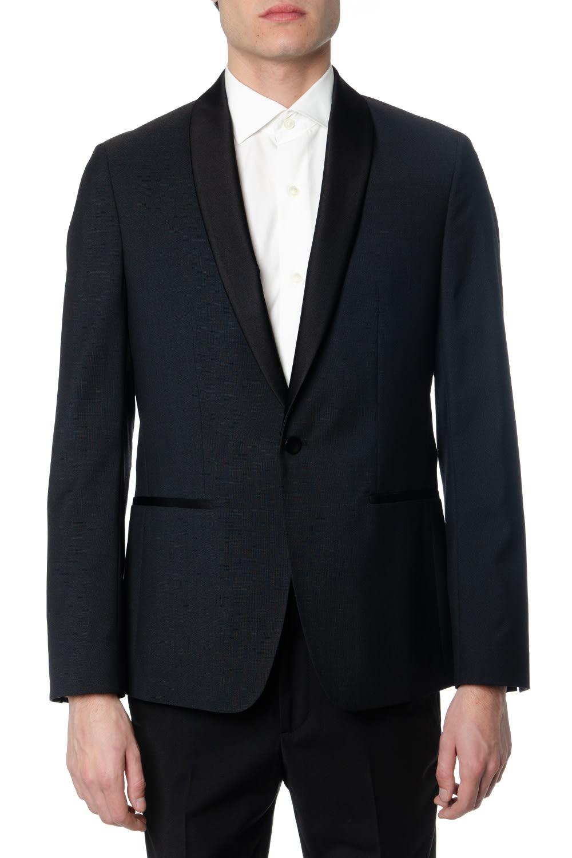 Calvin Klein Jeans Black Wool Satin-trimmed Blazer