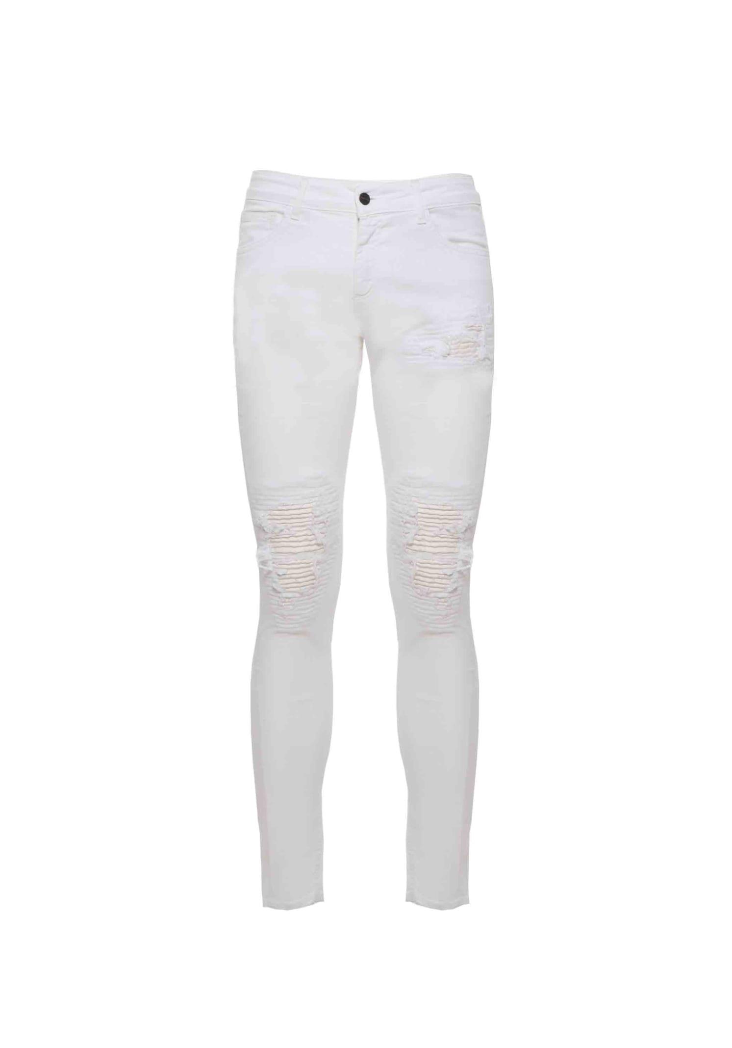 Jeans Denim Biker White