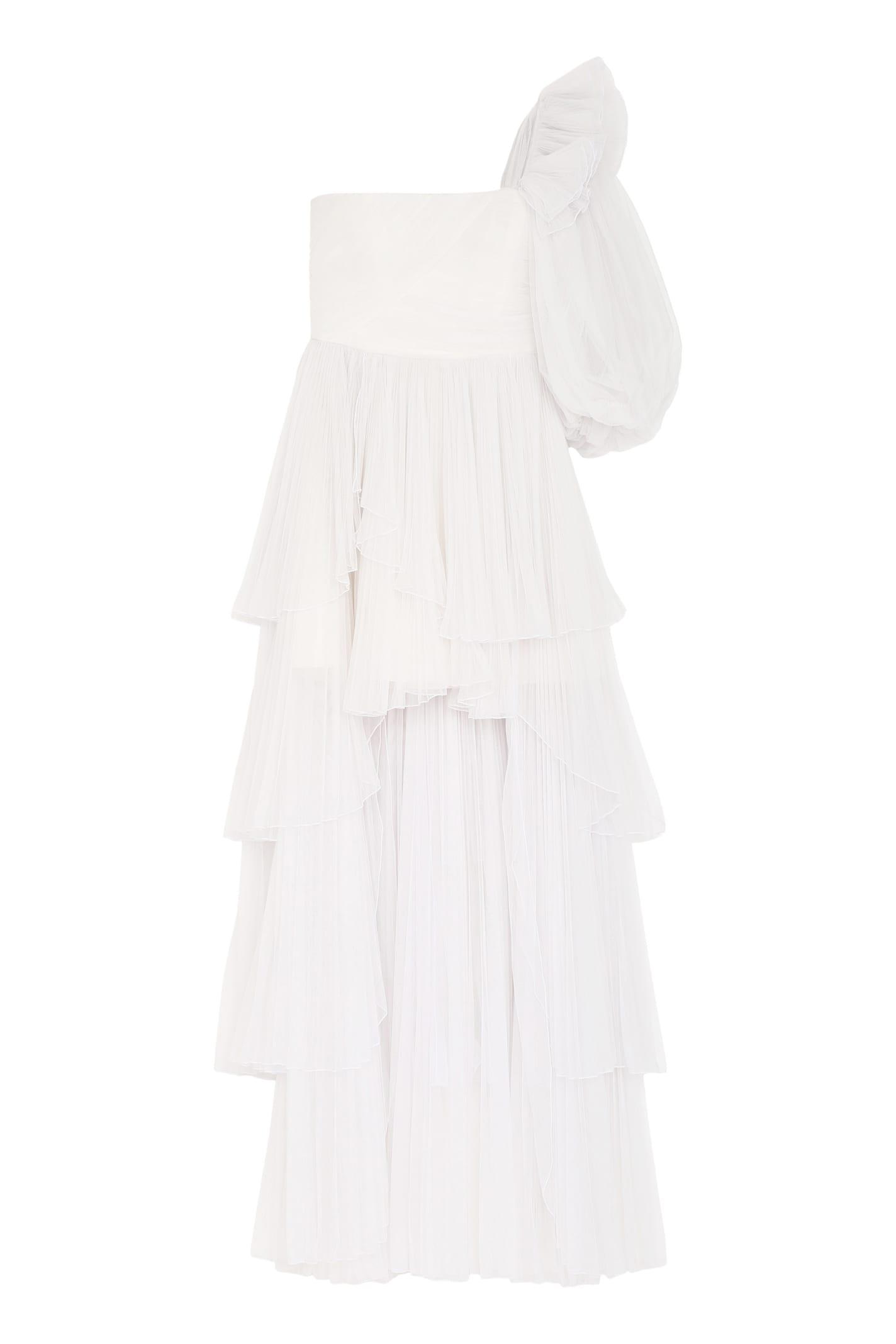 Alberta Ferretti Pleated Tulle Dress