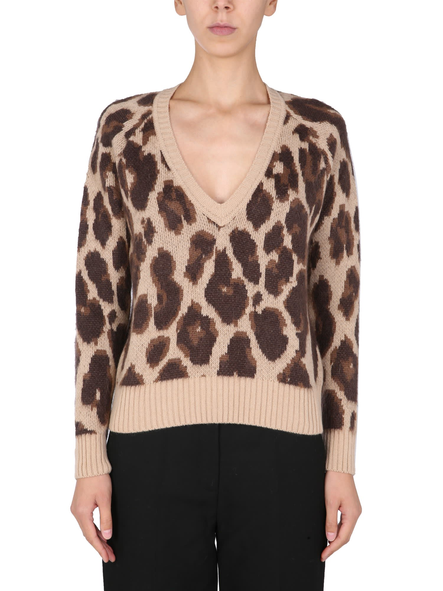 V-neck Sweater With Animal Print