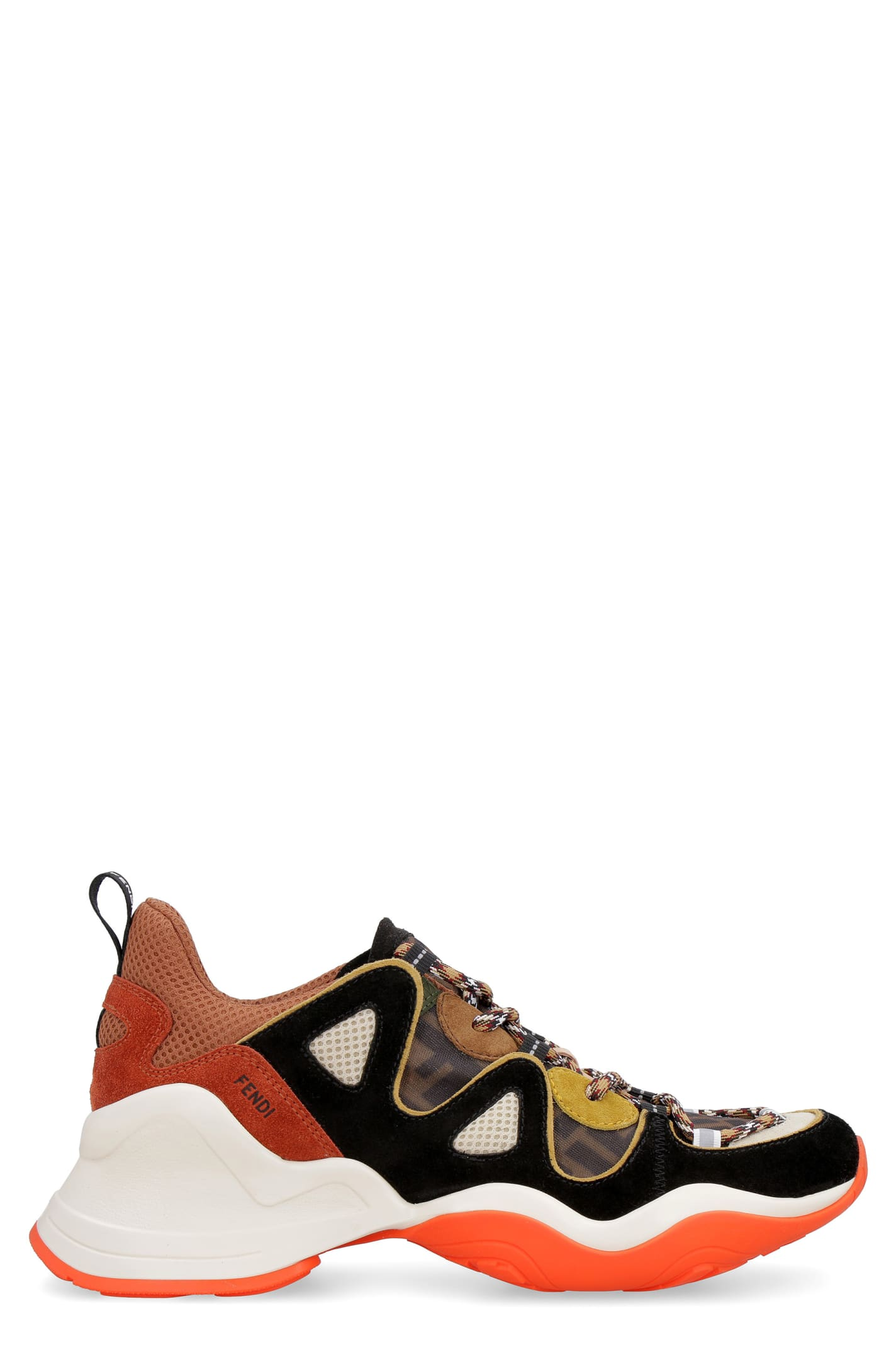 Fendi Techno Fabric And Suede Sneakers