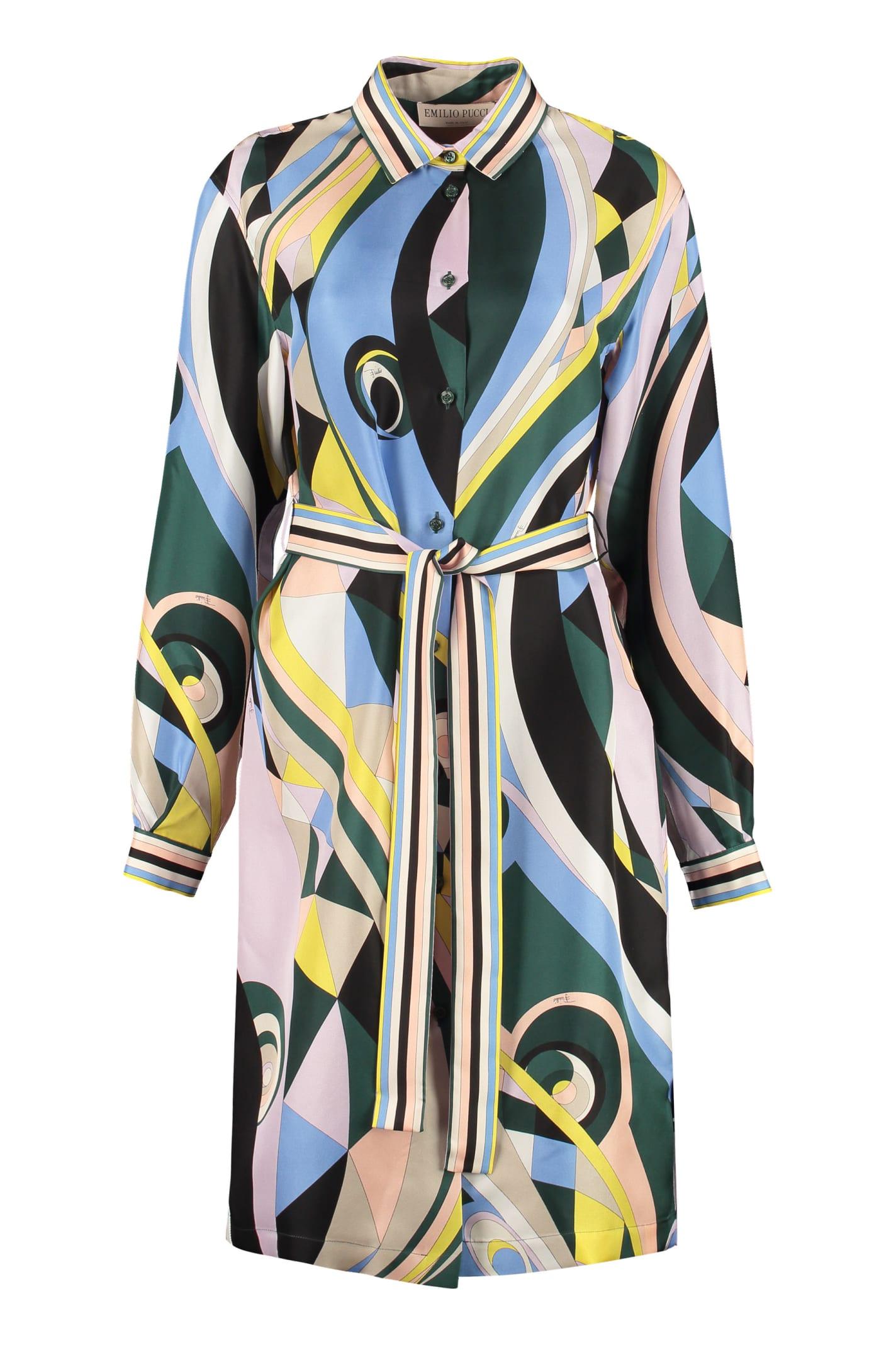 Emilio Pucci Printed Silk Shirt Dress