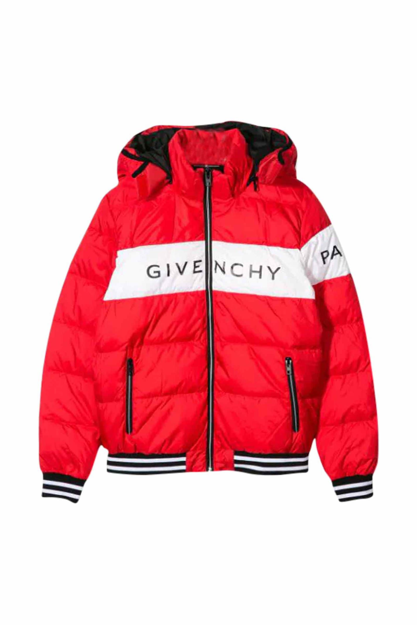 Givenchy Kids' Hoodie Padded Jacket In Rosso