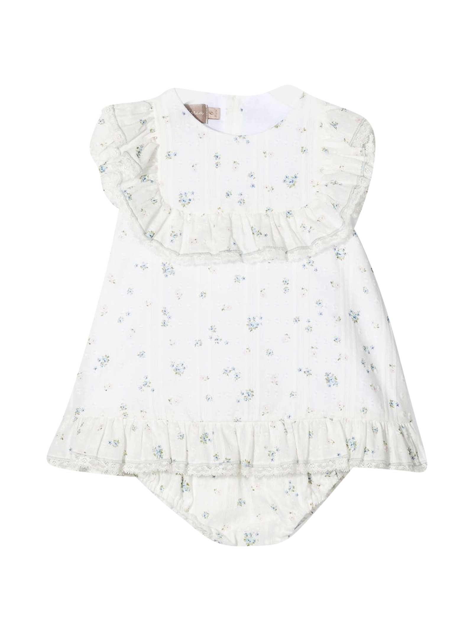 La Stupenderia Cottons WHITE FLORAL DRESS WITH RUFFLES