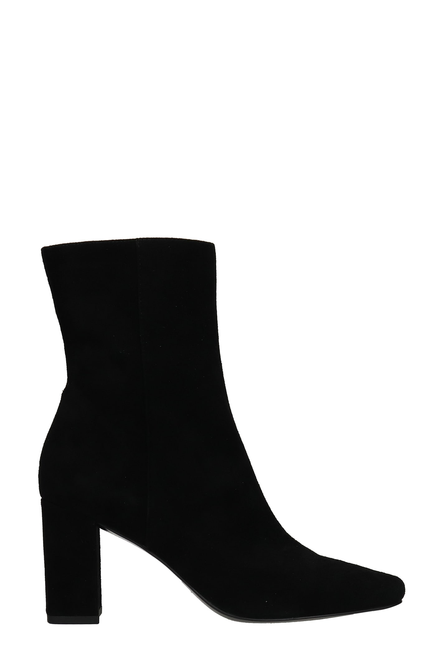 High Heels Ankle Boots In Black Suede