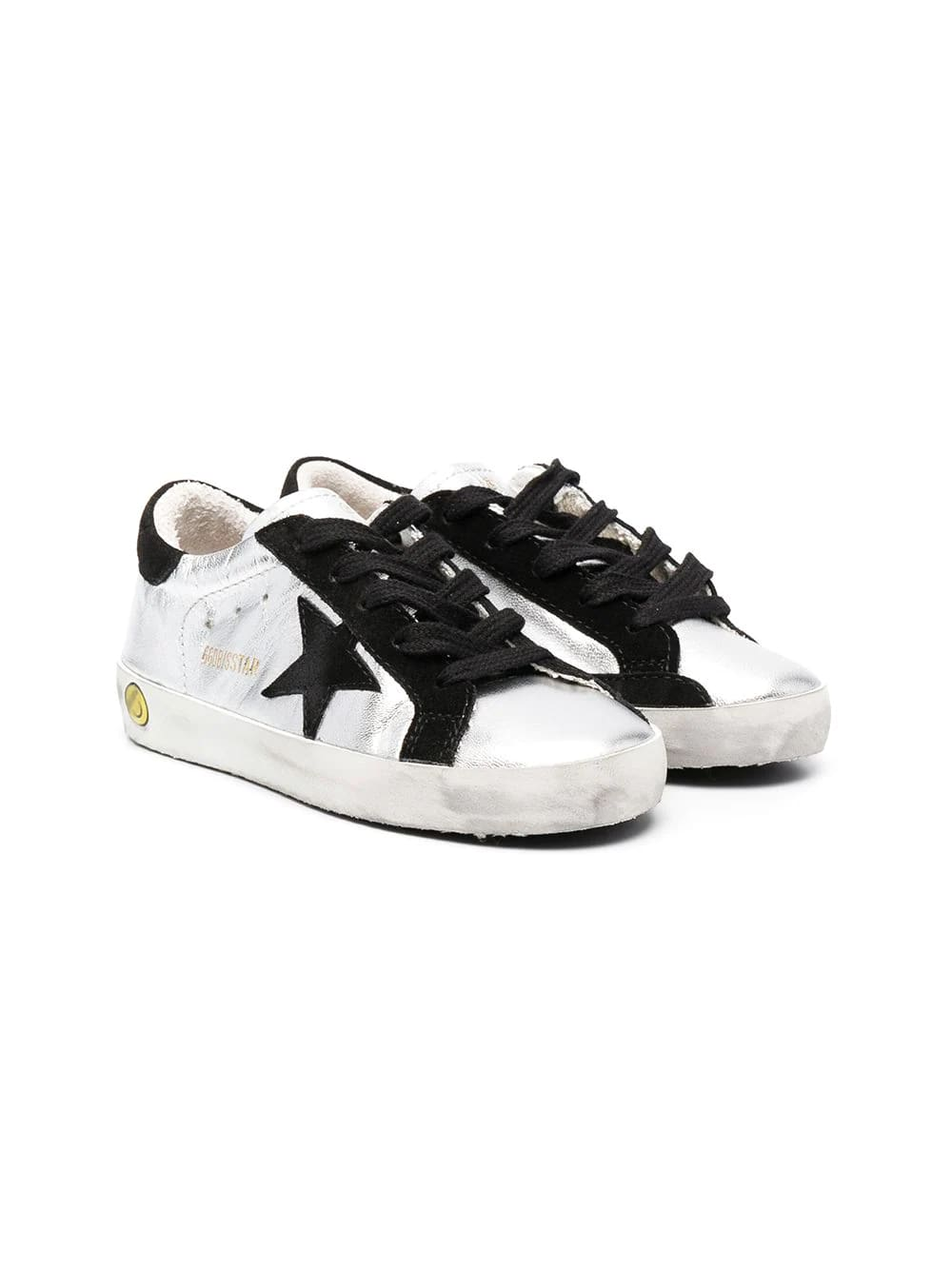 Golden Goose Junior Metallic Silver Super-star Sneakers With Black Suede Details