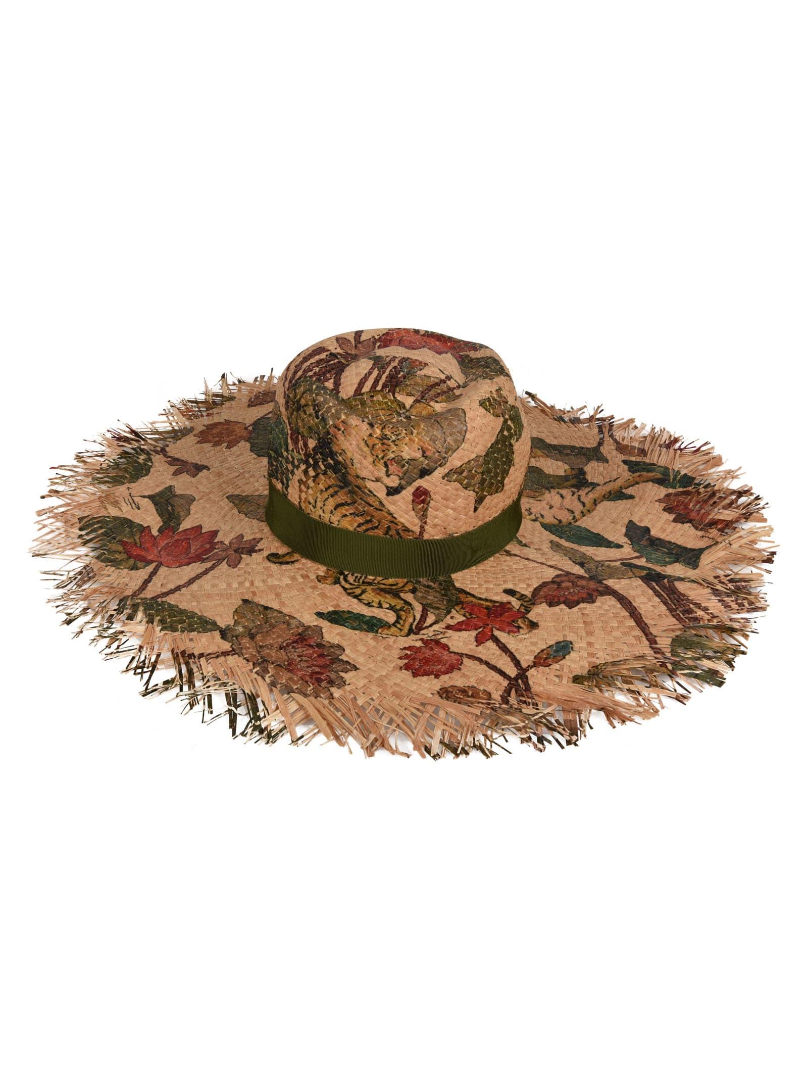 Etro Sunhats FLORAL PRINT STRAW HAT