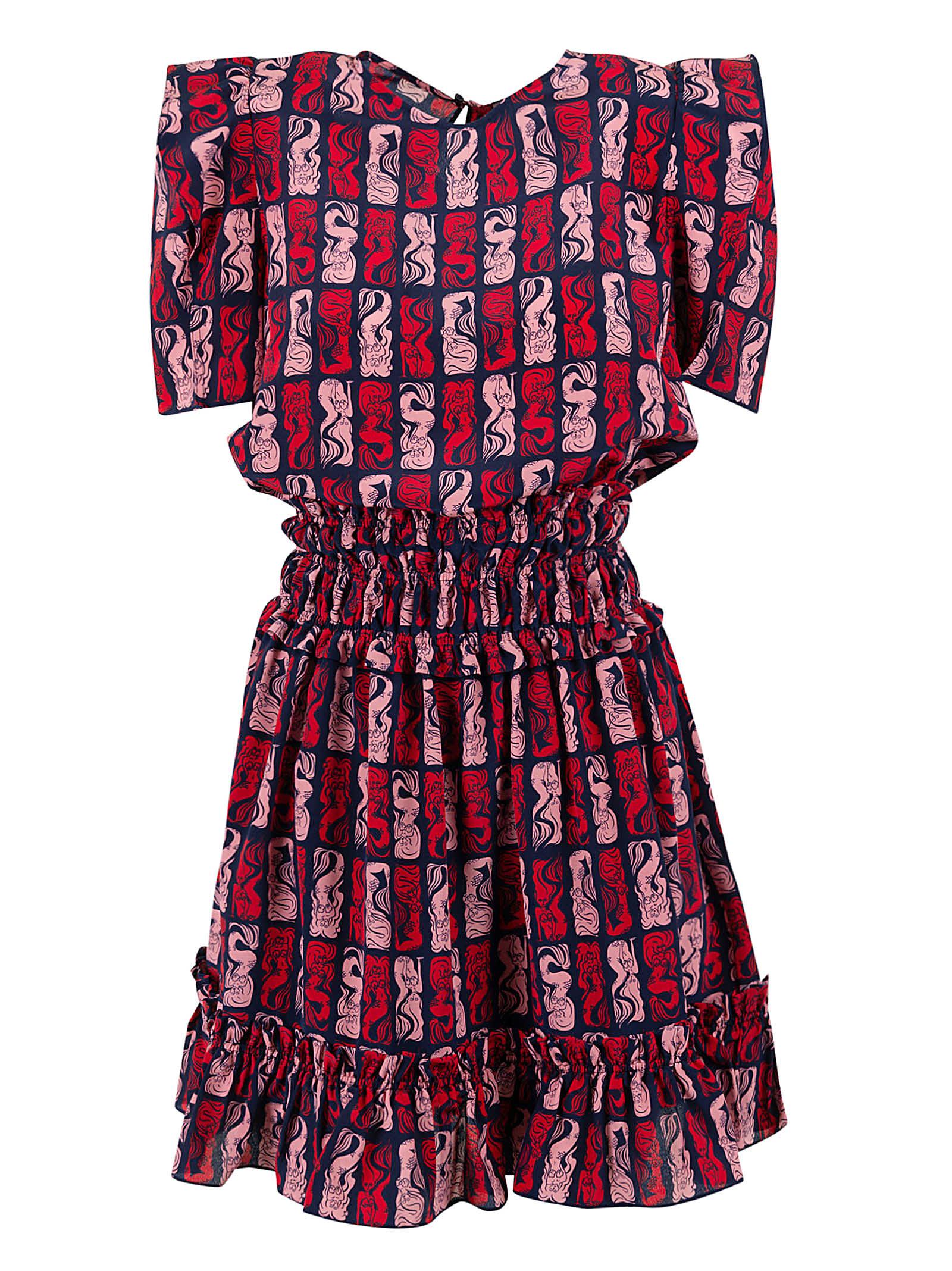Kenzo Soft Flare Smocking Dress