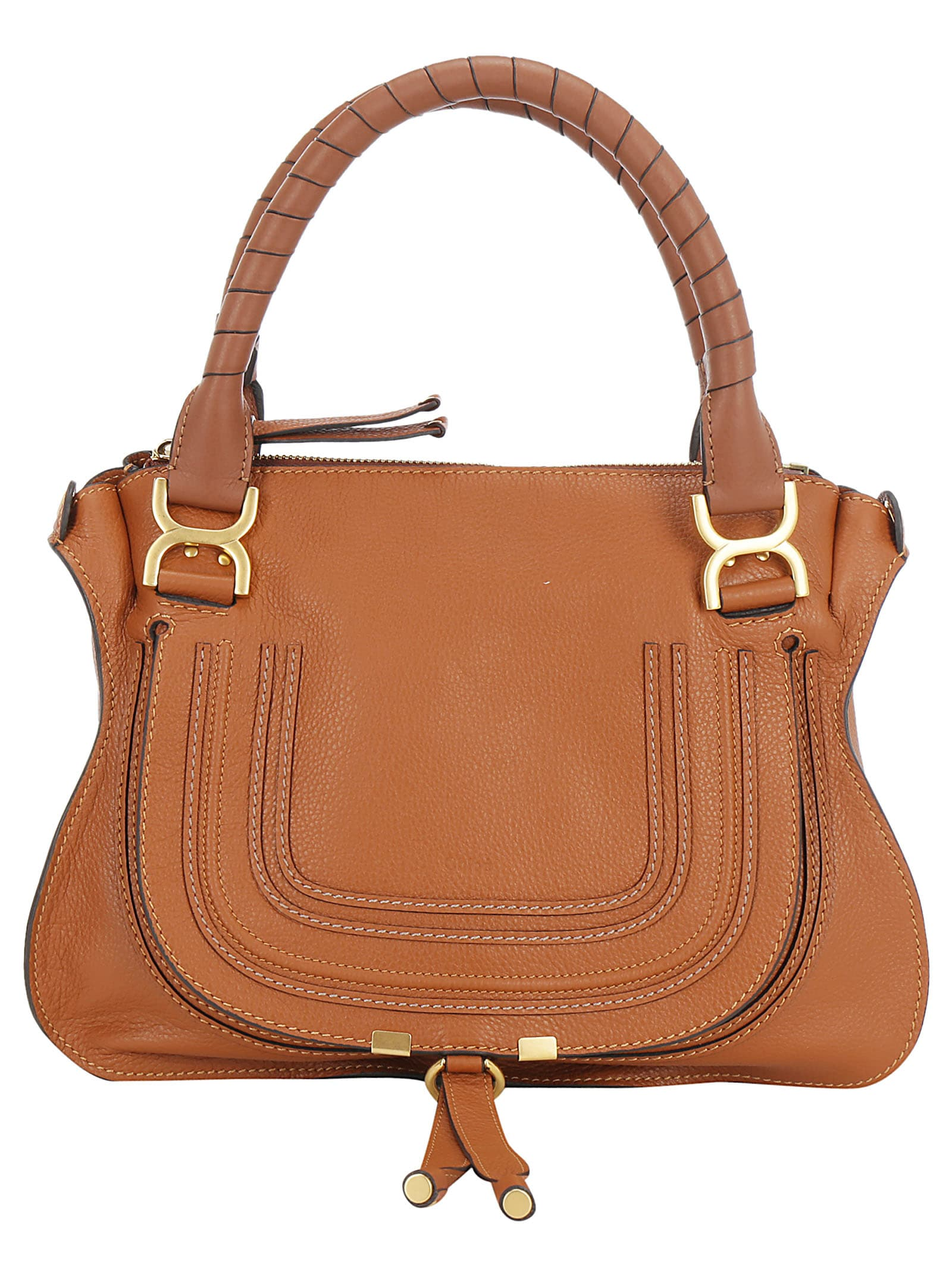 Tan Calfskin Hand Bag by Chloé, featuring two round handles, zip closure on top, removable shoulder strap, front flap with open pocket under it, internal compartment with zip pocket and open pocket. Composition: 100% Calf Leather Bos Taurus