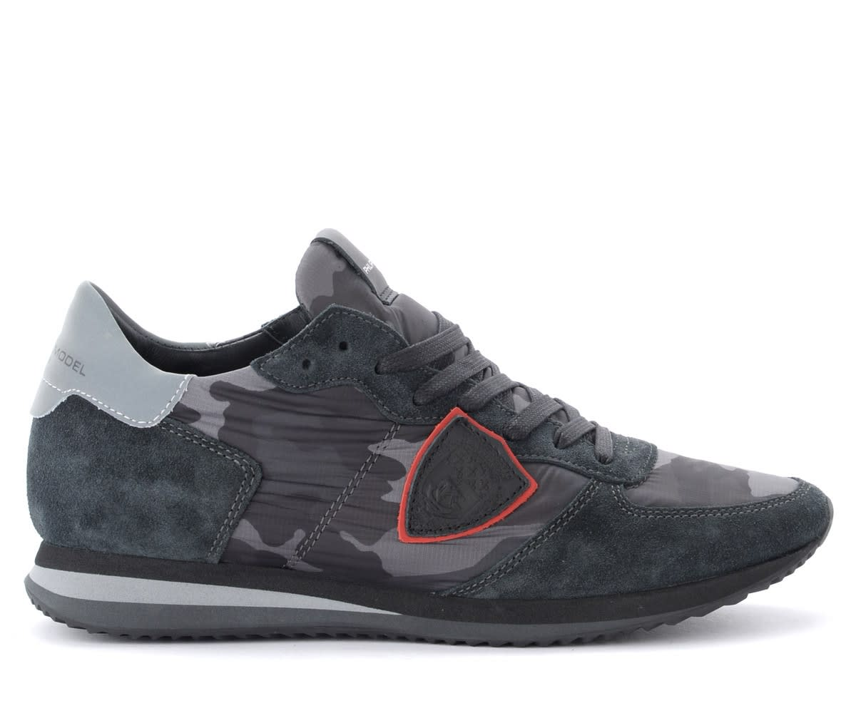 Philippe Model Tropez X Sneaker In Suede And Camouflage Fabric