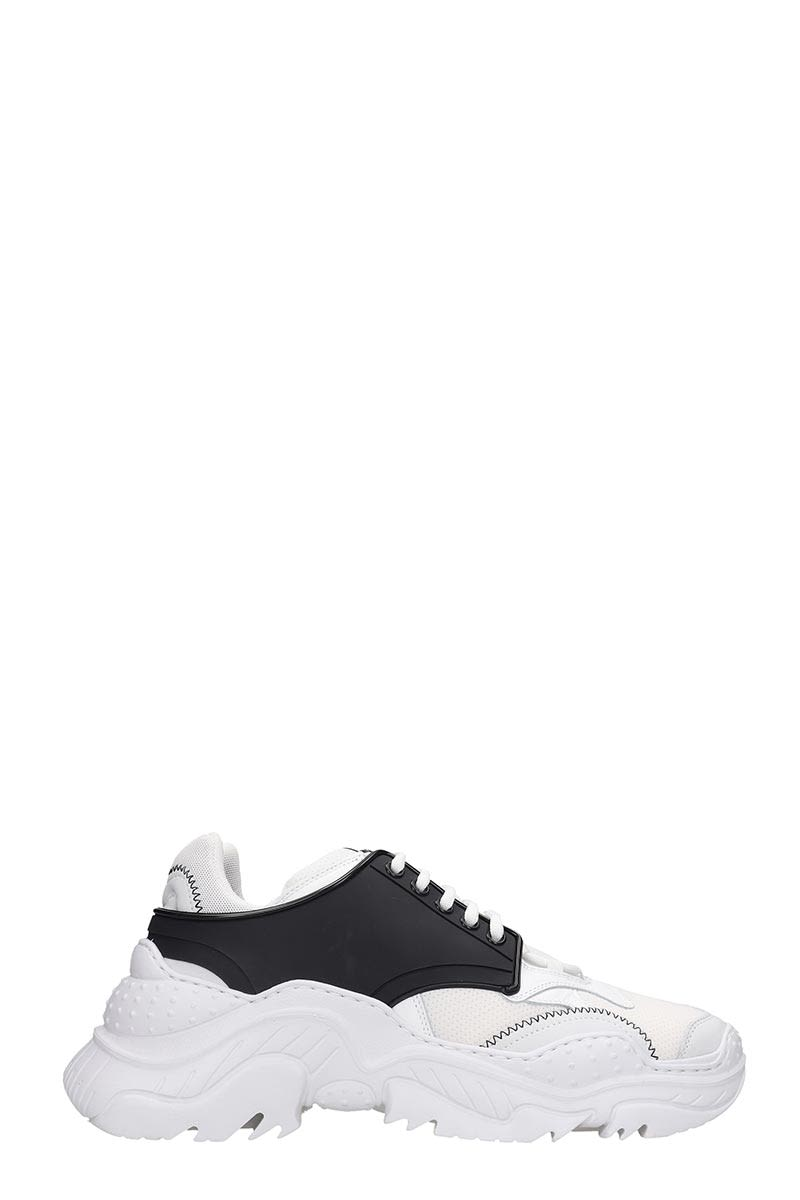 Billy Sneakers in white leather, laces, logo on upper tongue, contrasting stitching, rubber outsoleComposition: Leather