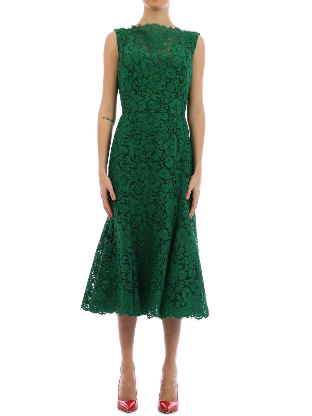 Buy Dolce & Gabbana Green Lace Dress online, shop Dolce & Gabbana with free shipping