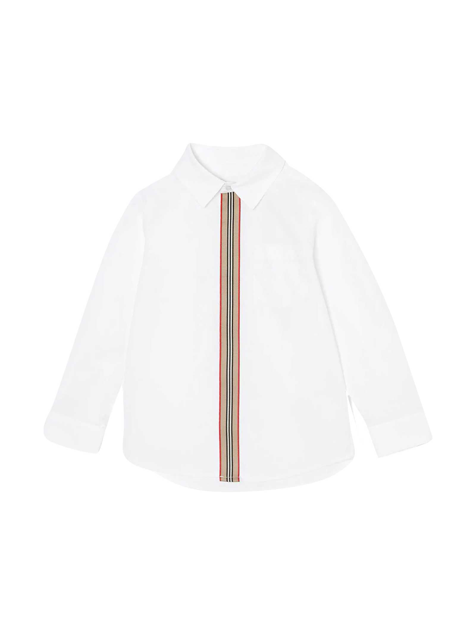 Burberry Kids' White Shirt With Frontal Stripe In Bianco