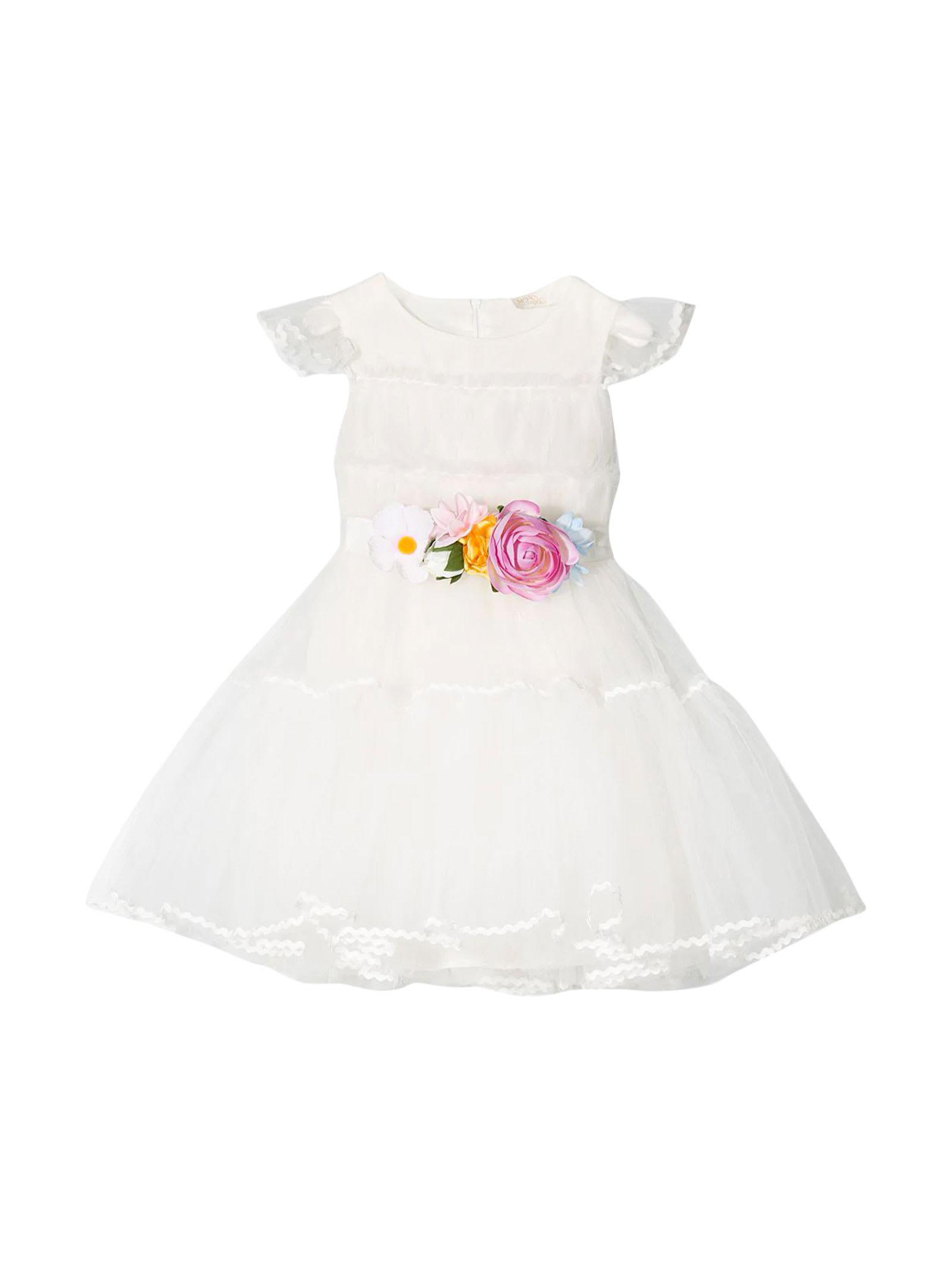 Buy Monnalisa White Tulle Dress online, shop Monnalisa with free shipping