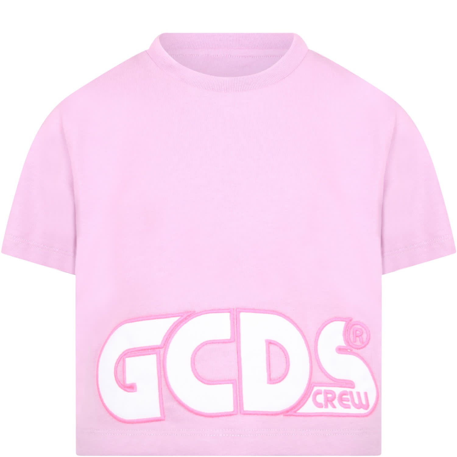 Gcds Mini LILAC T-SHIRT FOR GIRL WITH LOGO