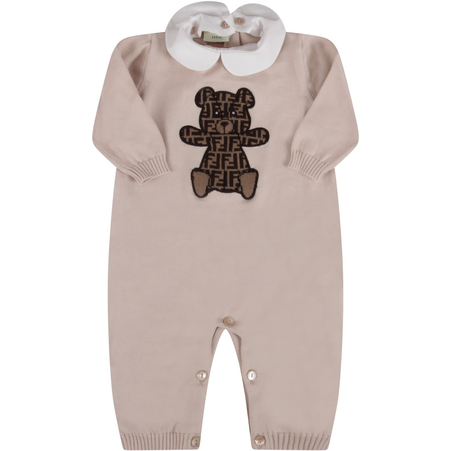 Fendi BEIGE BABYKIDS BABYGROW WITH BEAR