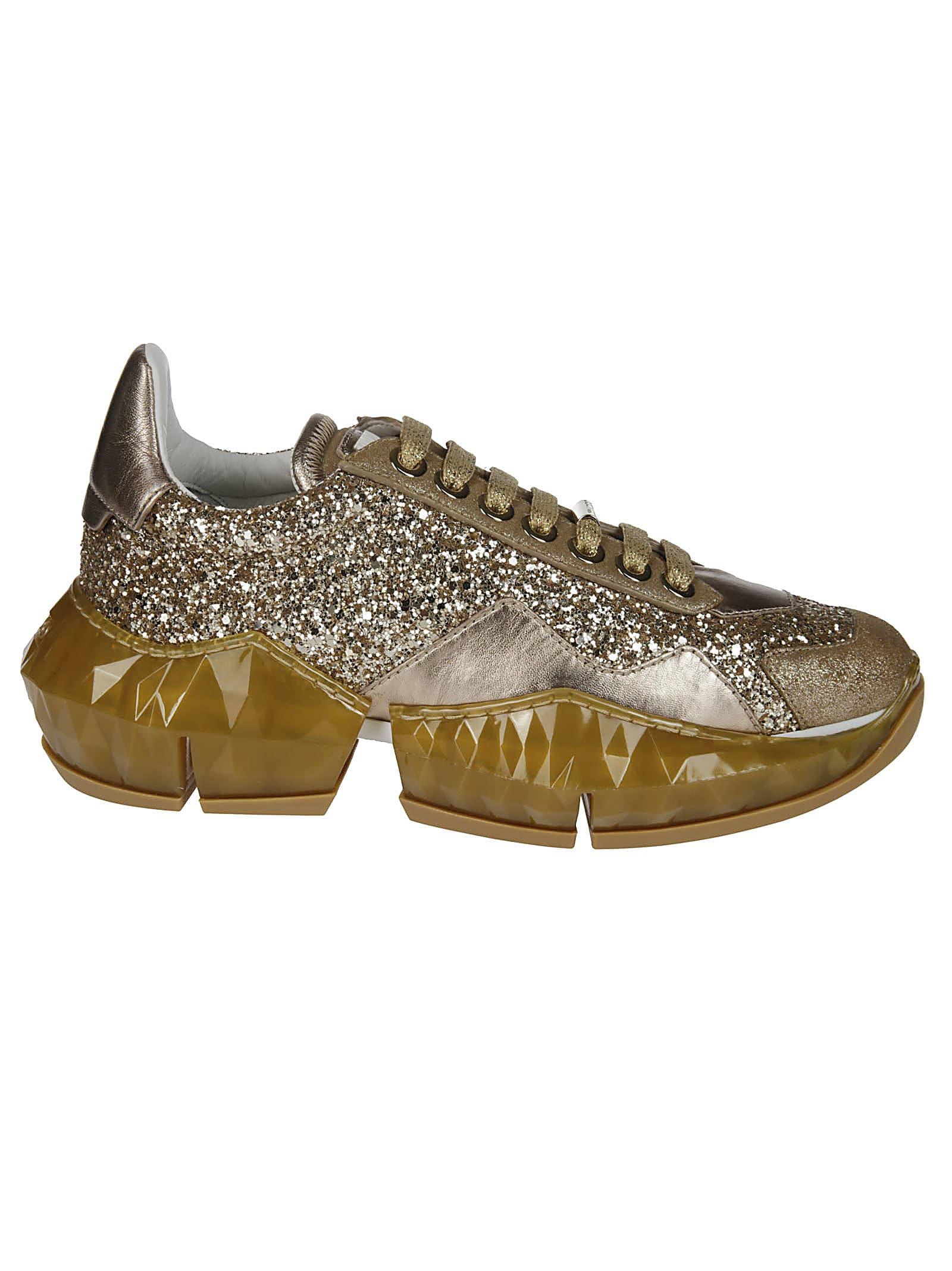 Jimmy Choo Gold-tone Diamond Sneakers
