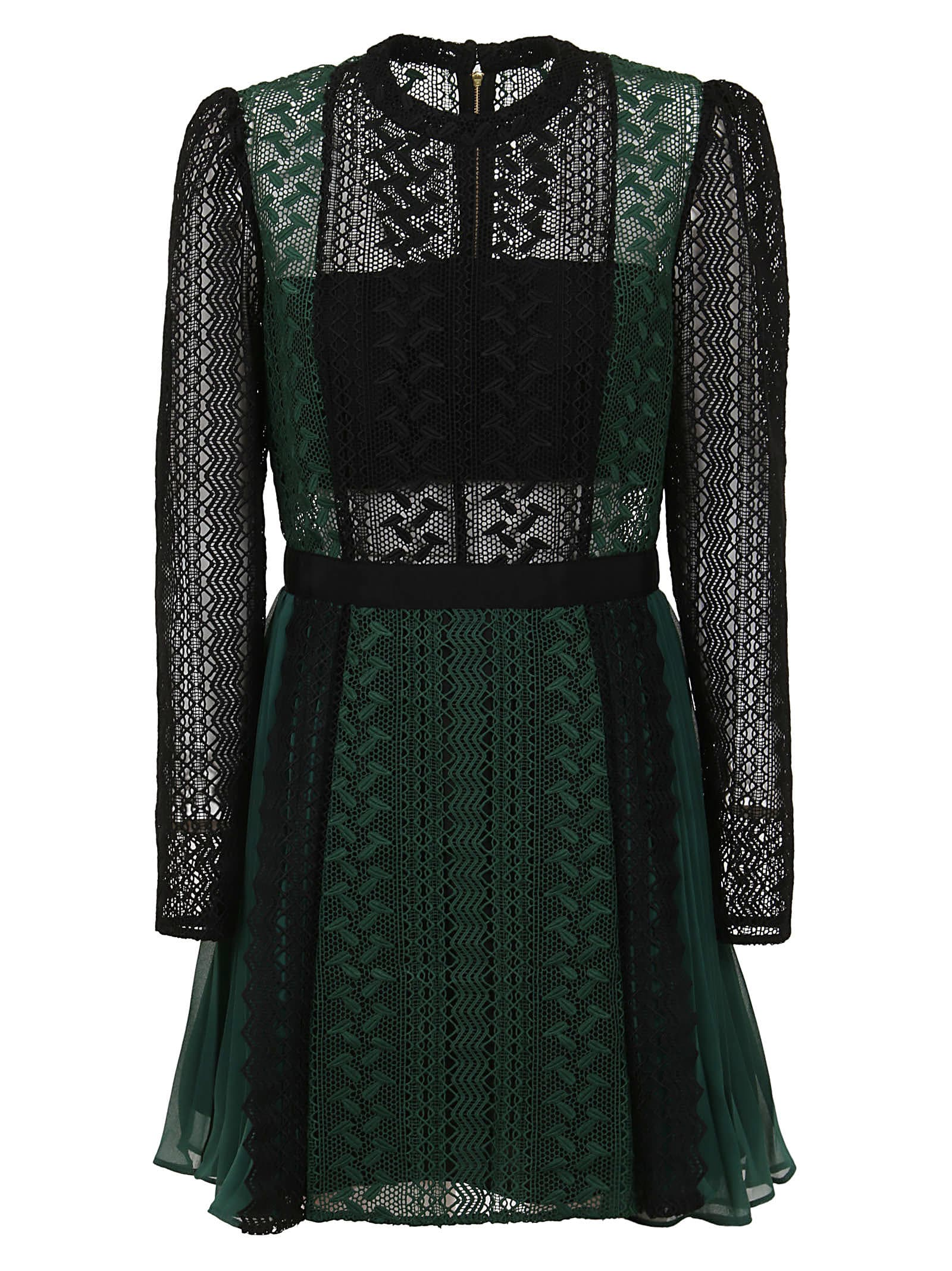 self-portrait Green And Black Lace Mini Dress