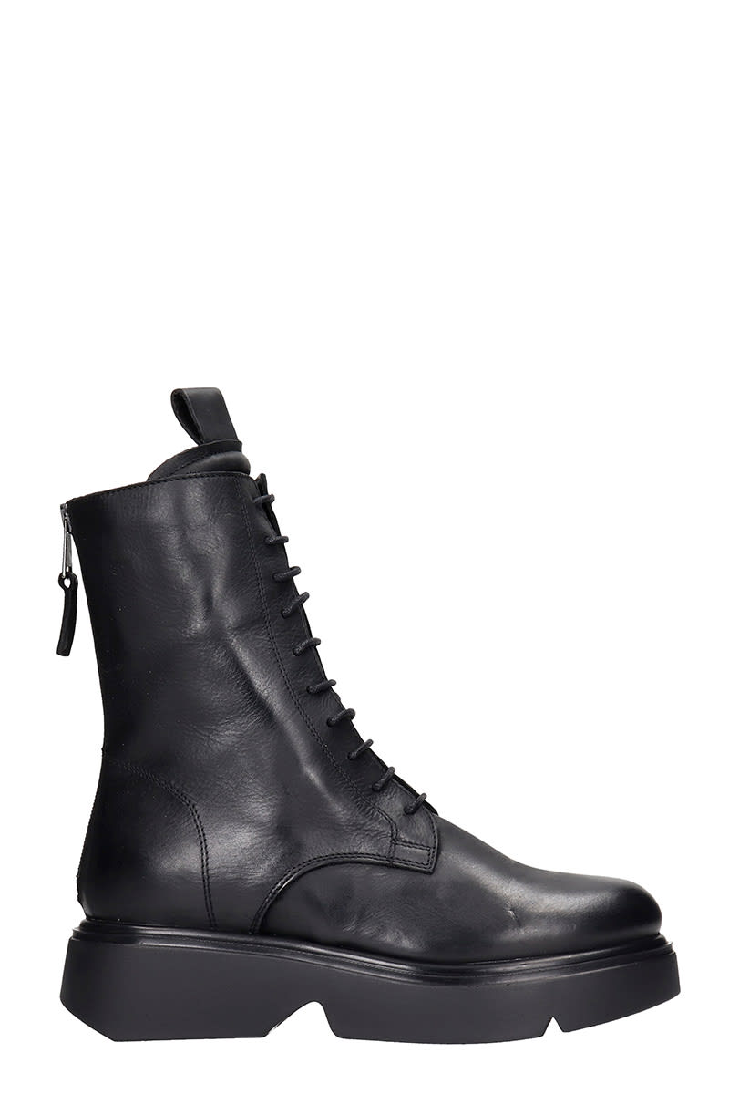 Elena Iachi Combat Boots In Black Leather