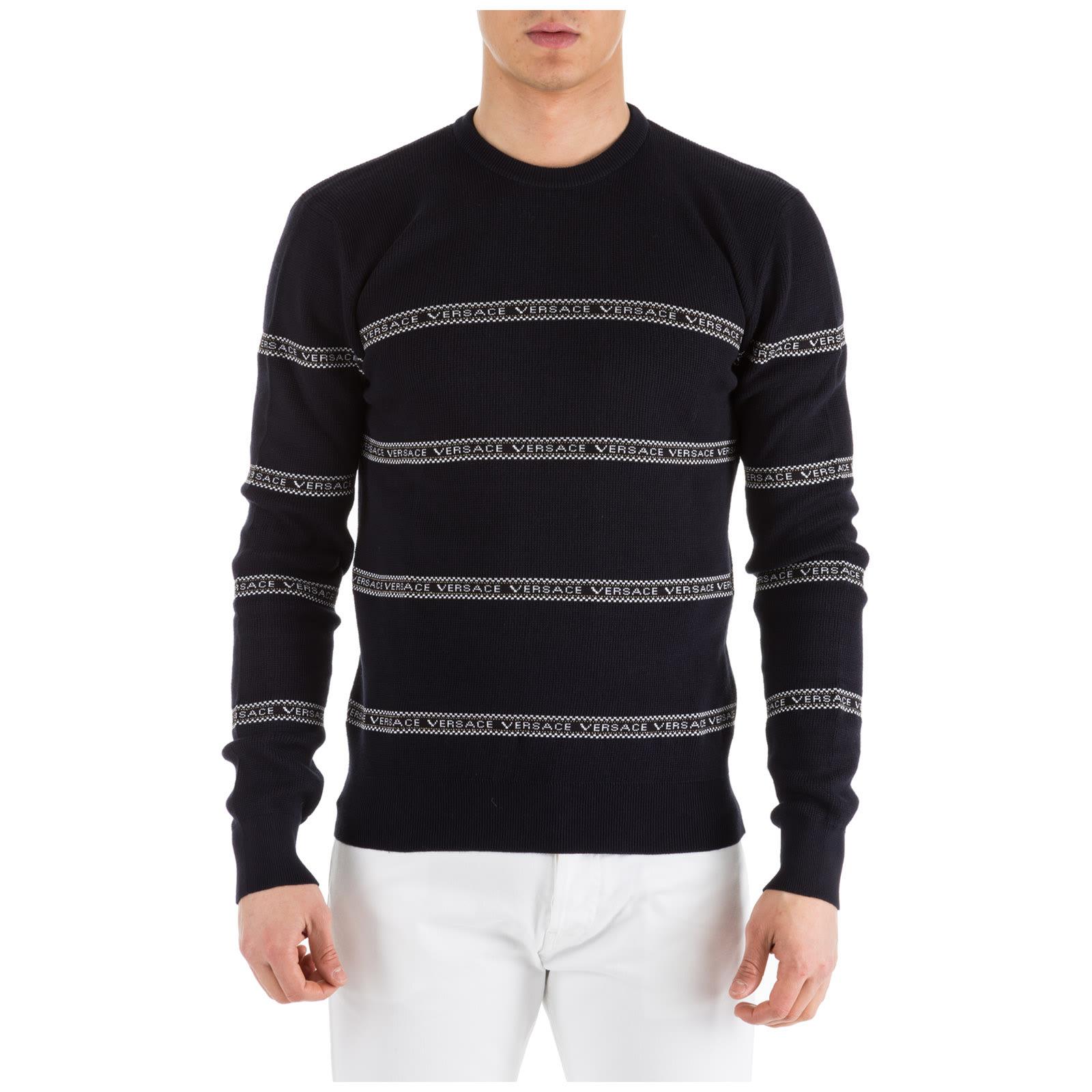 2019 heißer verkauf bieten Rabatte außergewöhnliche Farbpalette Versace Crew Neck Neckline Jumper Sweater Pullover Slim