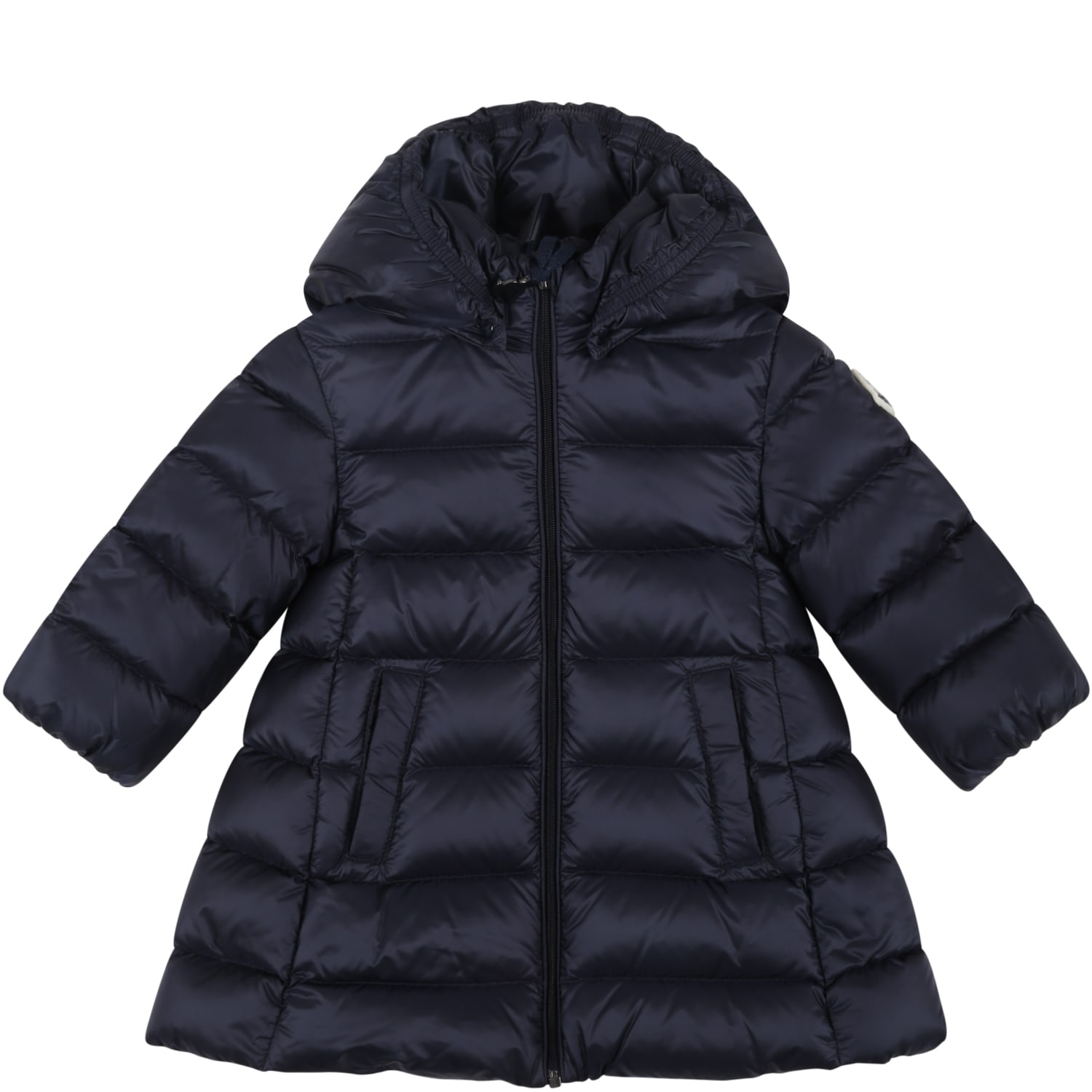 Moncler Blue majeure Jacket For Baby Girl With Patch