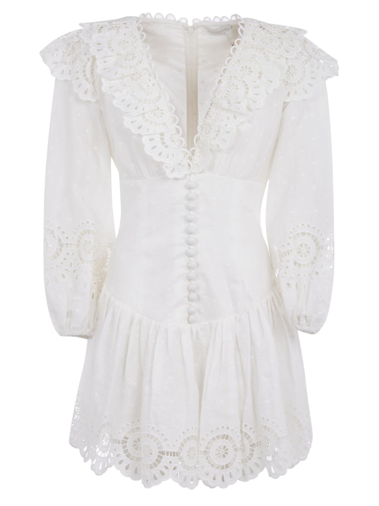 ZIMMERMANN BELLITUDE SCALLOP SHORT DRESS