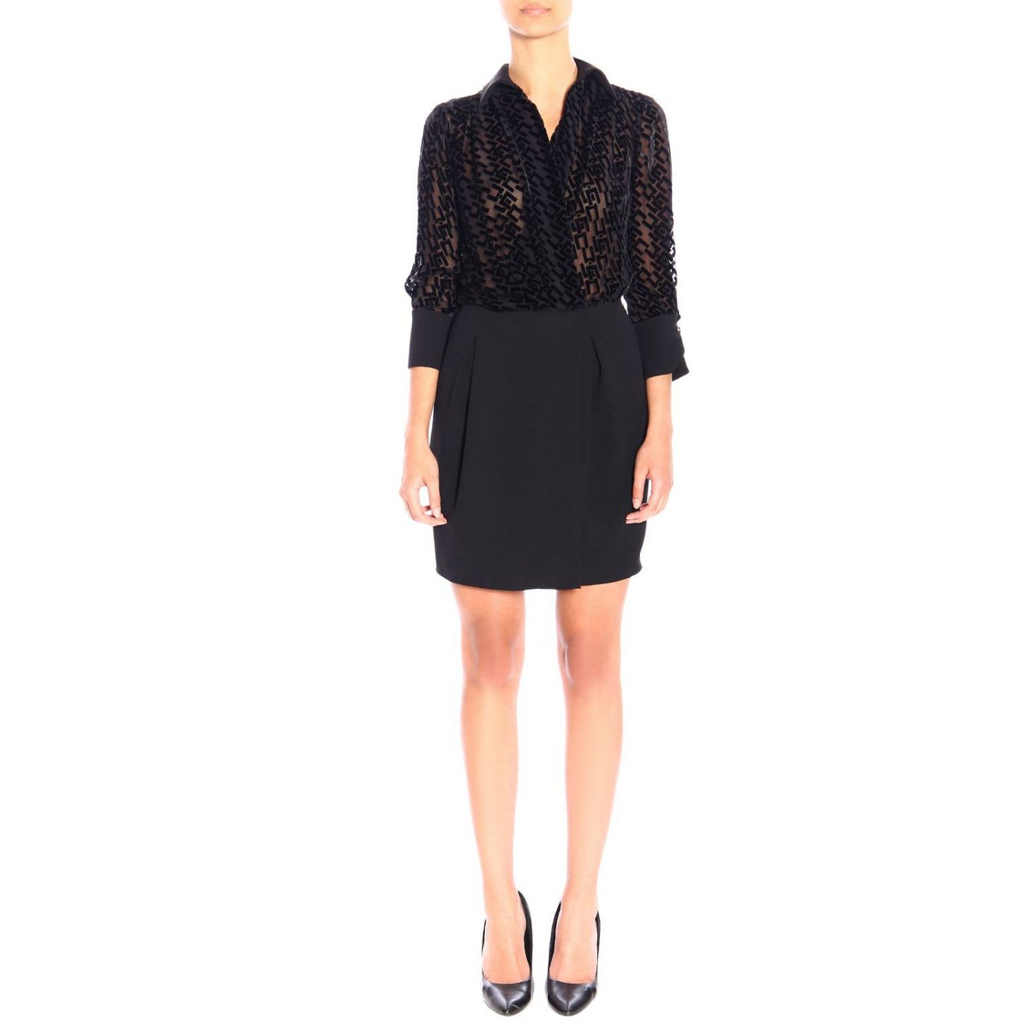 Photo of  Elisabetta Franchi Dress Elisabetta Franchi Dress With All-over Flocked Logo- shop Elisabetta Franchi Celyn B.  online sales