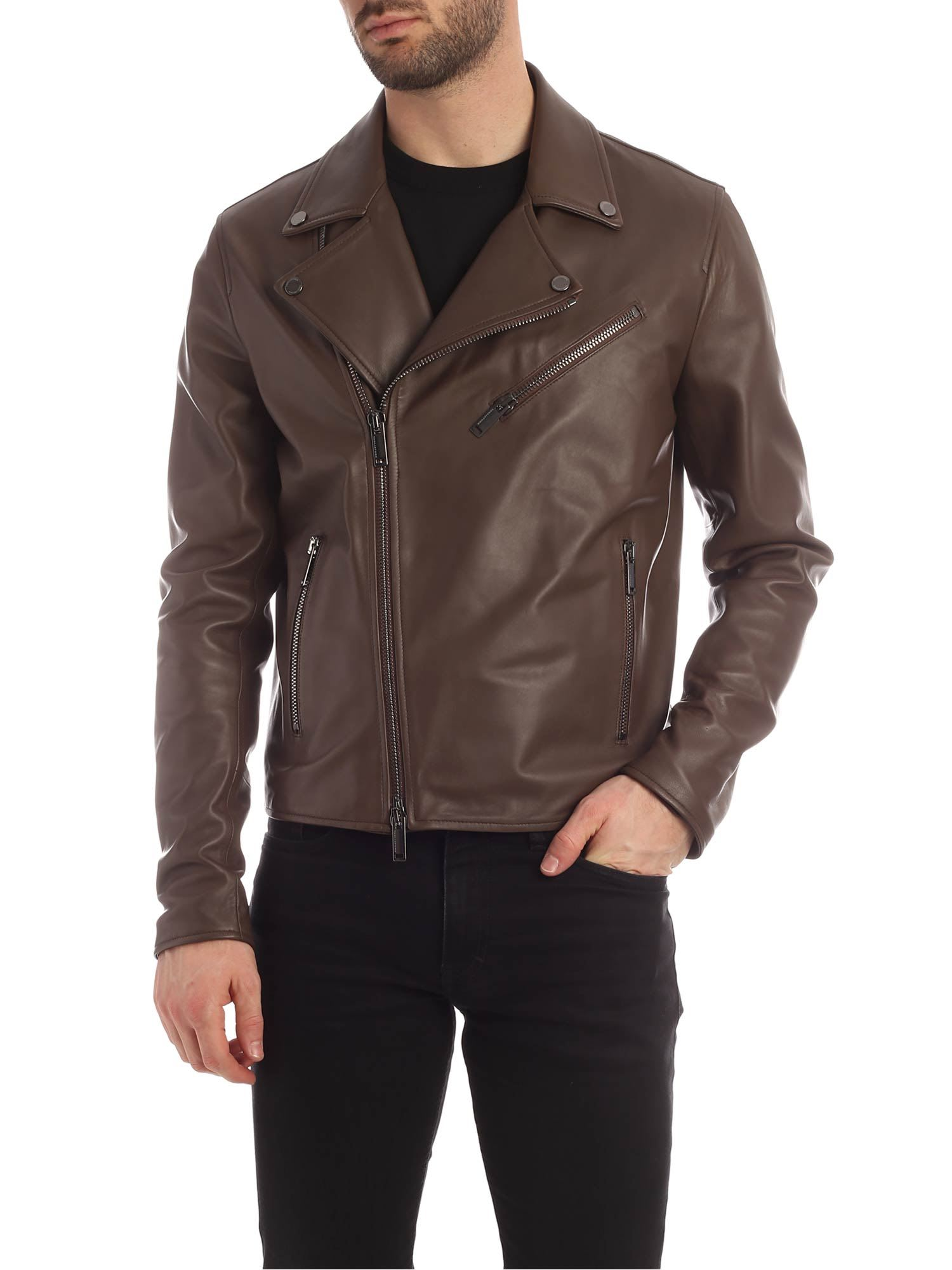 Tagliatore Brown Biker Jacket