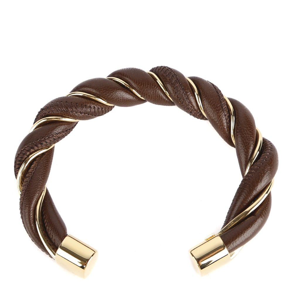 Bottega Veneta RIGID BRACELET IN SILVER AND NAPPA LEATHER