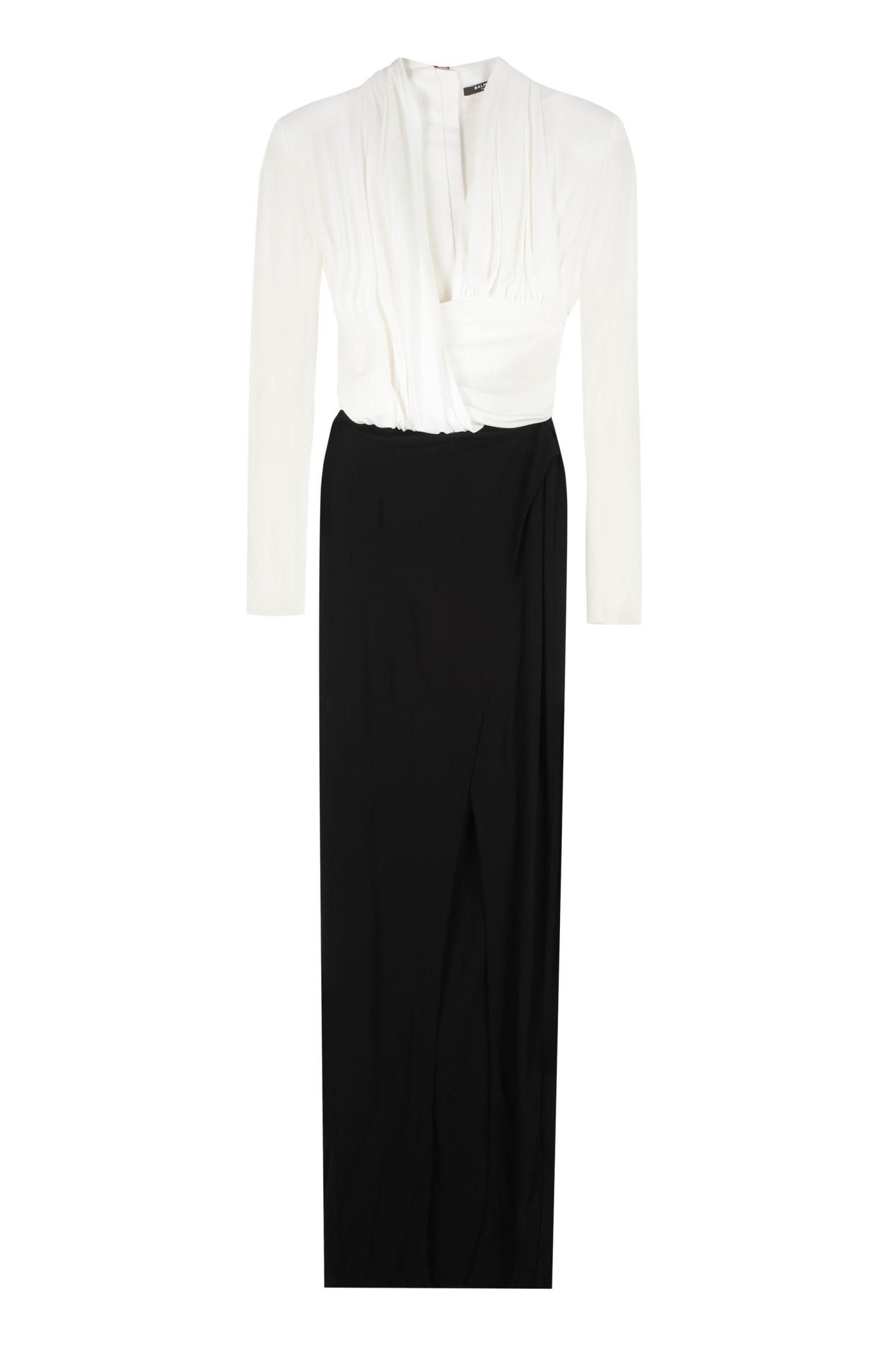 Buy Balmain Draped Long Dress online, shop Balmain with free shipping