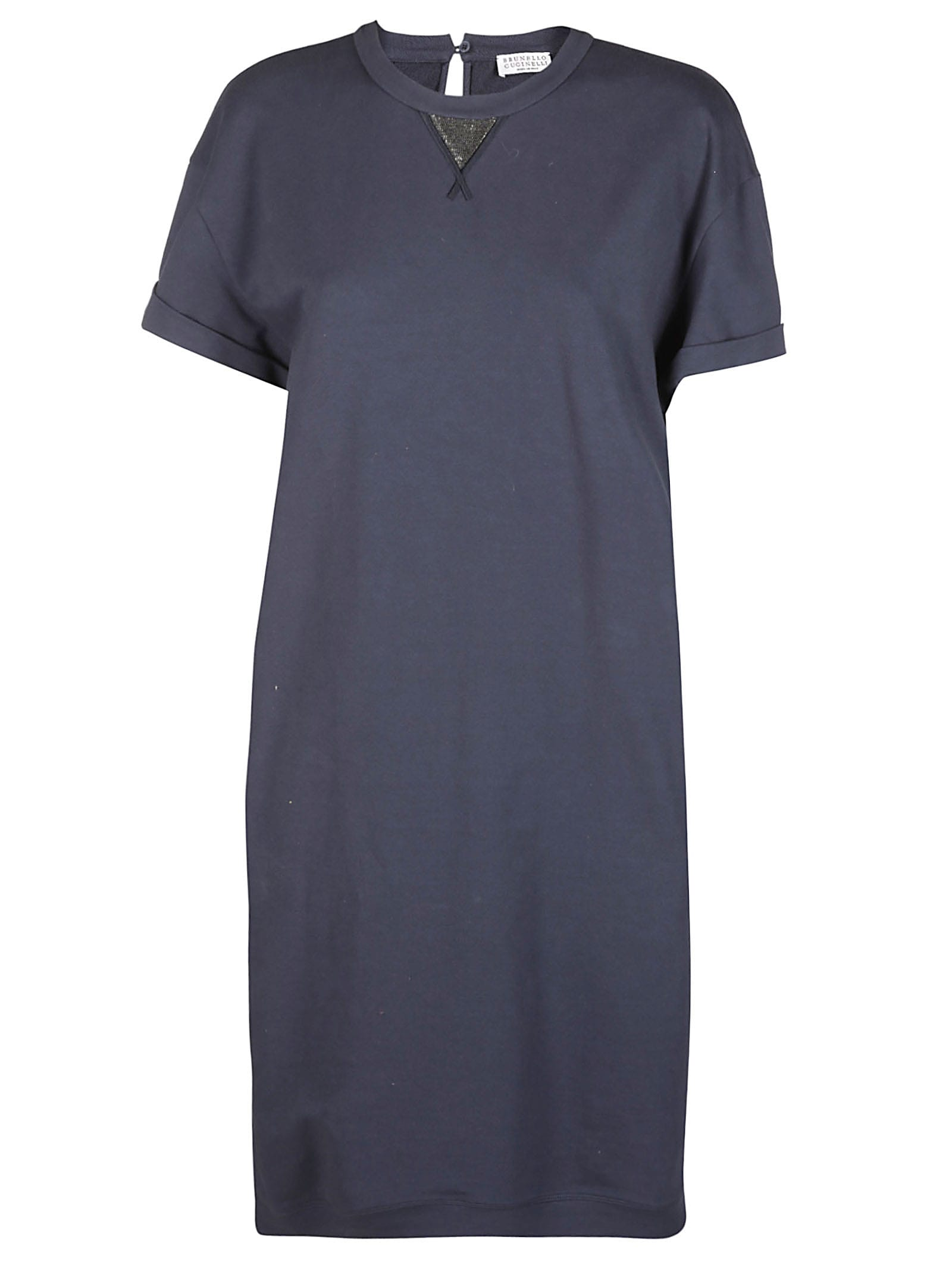 Buy Brunello Cucinelli Blue Cotton Dress online, shop Brunello Cucinelli with free shipping