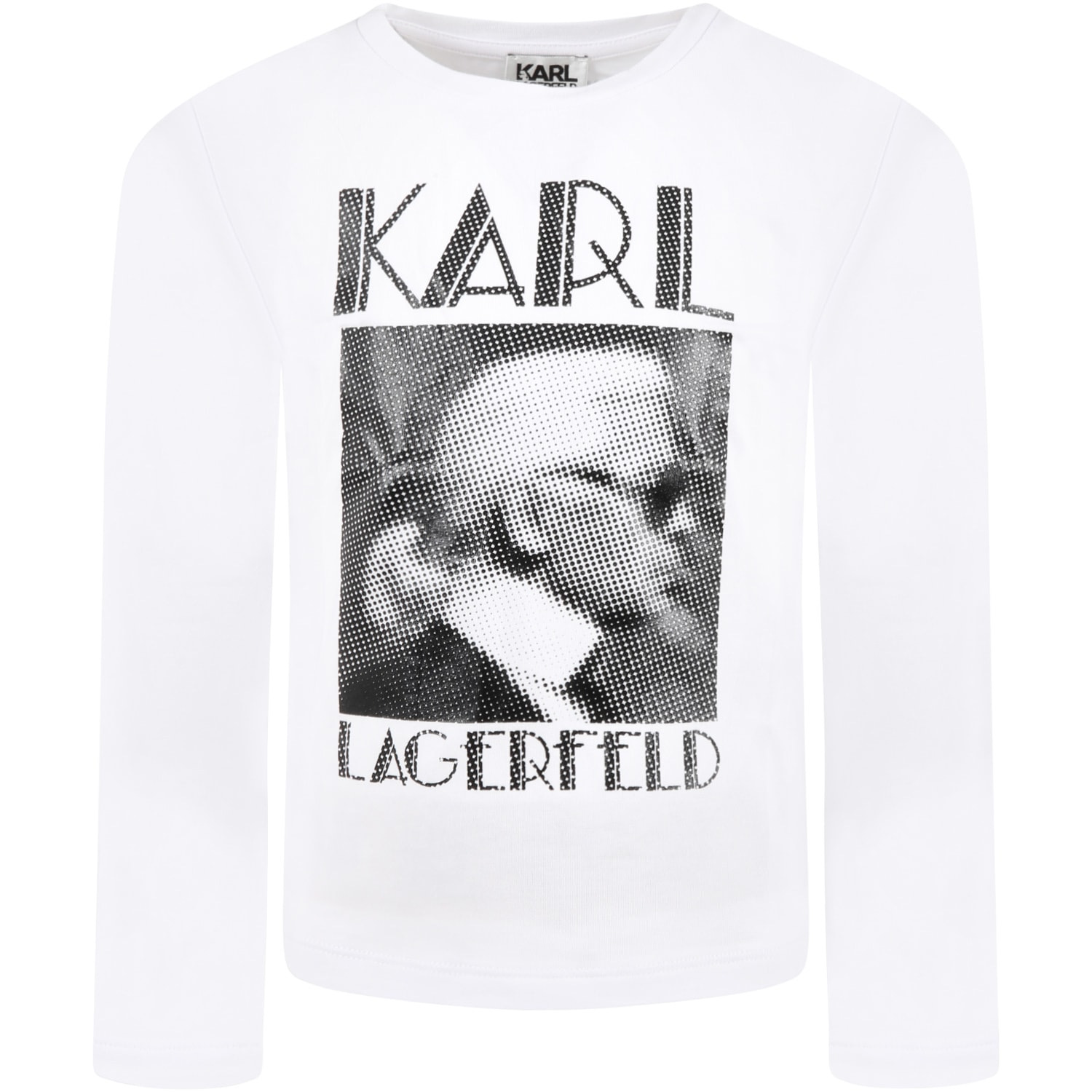 White T-shirt For Kids With Karl Lagerfeld