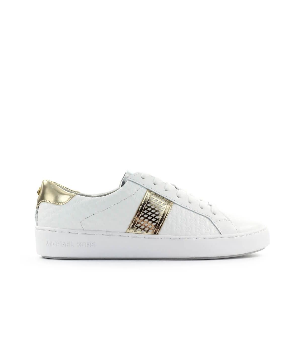 Michael Kors Irving Stripe Lace Up White Sneaker