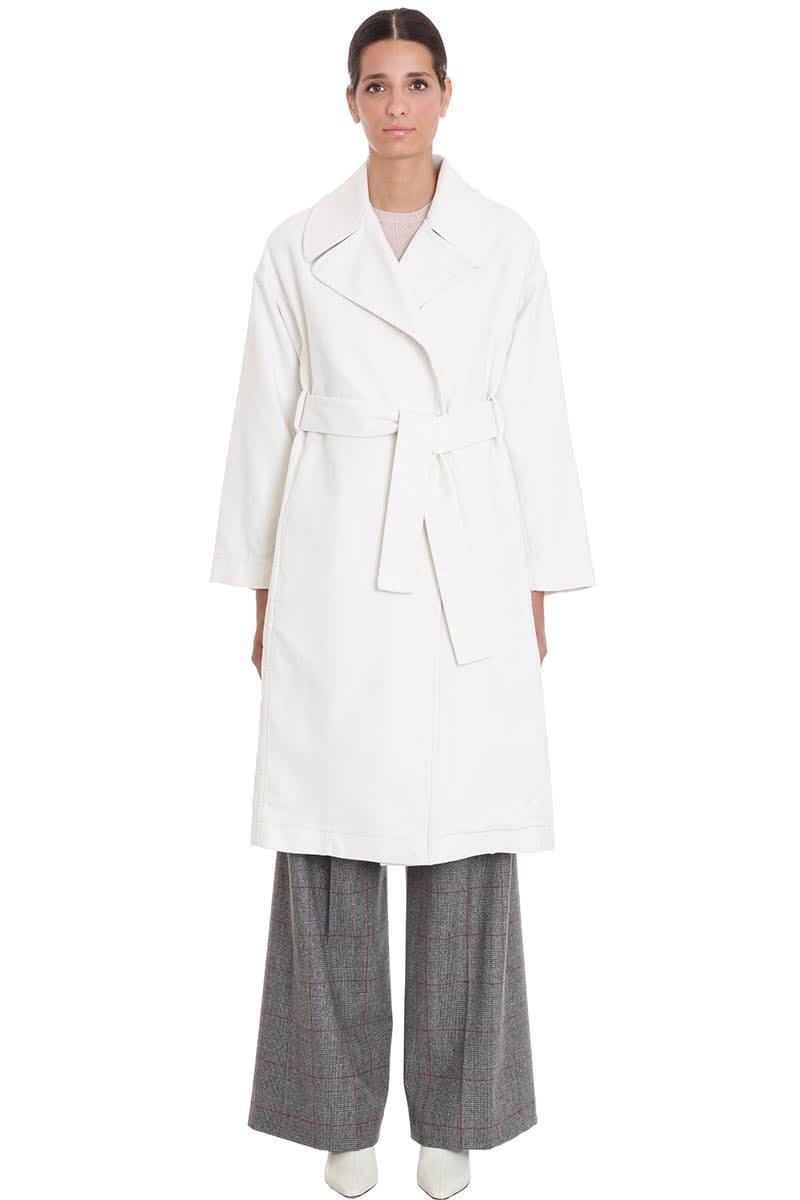 Maison Flaneur Coat In White Cotton