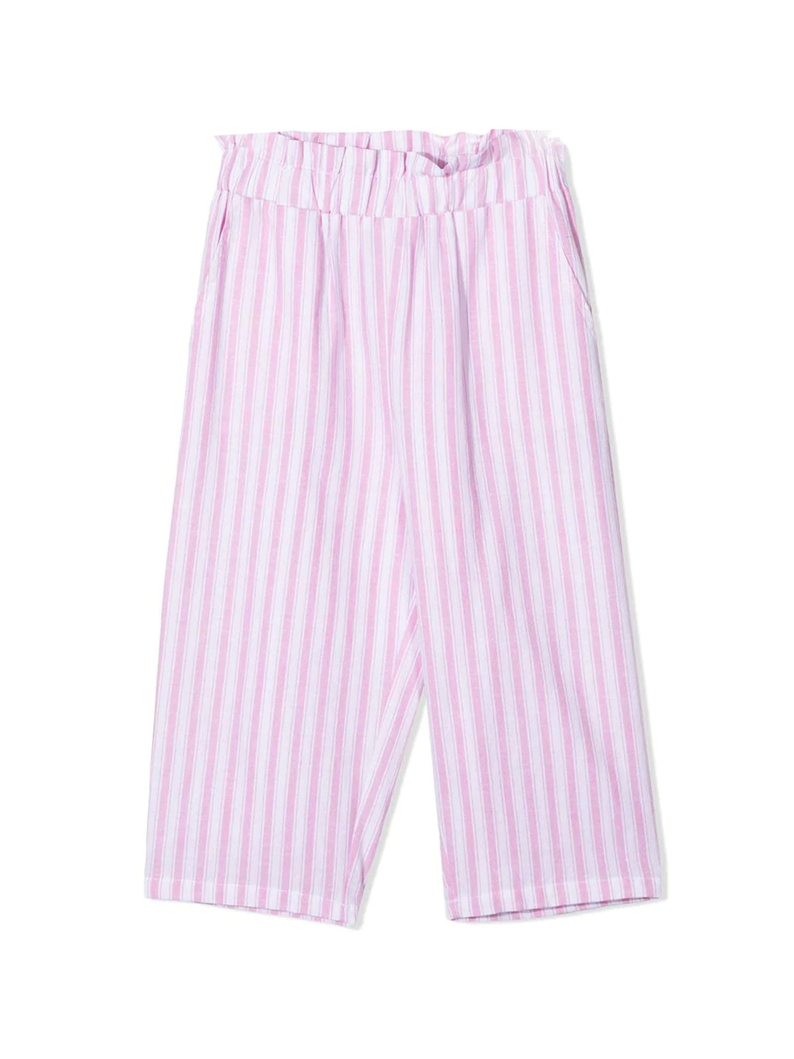 White And Pink Cotton-blend Trousers