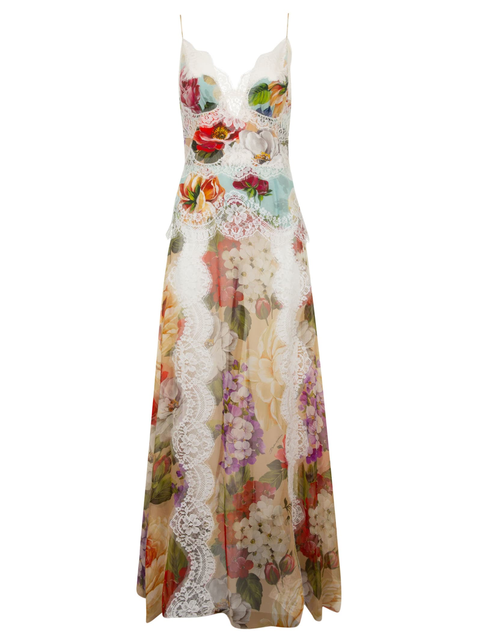 Buy Dolce & Gabbana Laced Long Floral Print Dress online, shop Dolce & Gabbana with free shipping