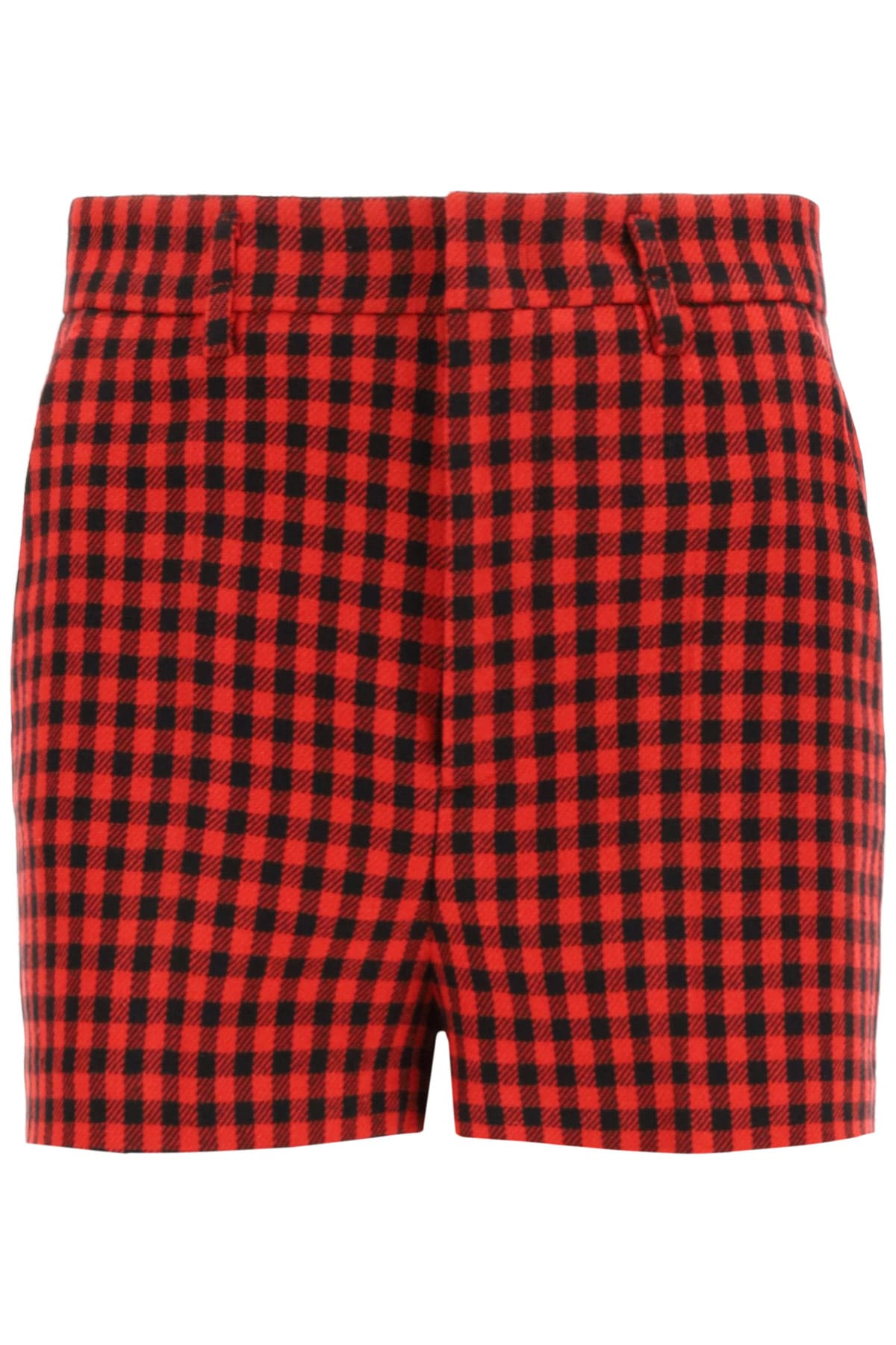 Red Valentino shorts in gingham-patterned wool and cotton blend fabric. They feature a regular fit with ironed crease, concealed zip and hook closure, slash front pockets, welt rear pockets, unlined interior. The model is 177 cm tall and wears a size IT 38. Composition: 38% cotone, 34% acrilico, 17% poliestere, 11% lana
