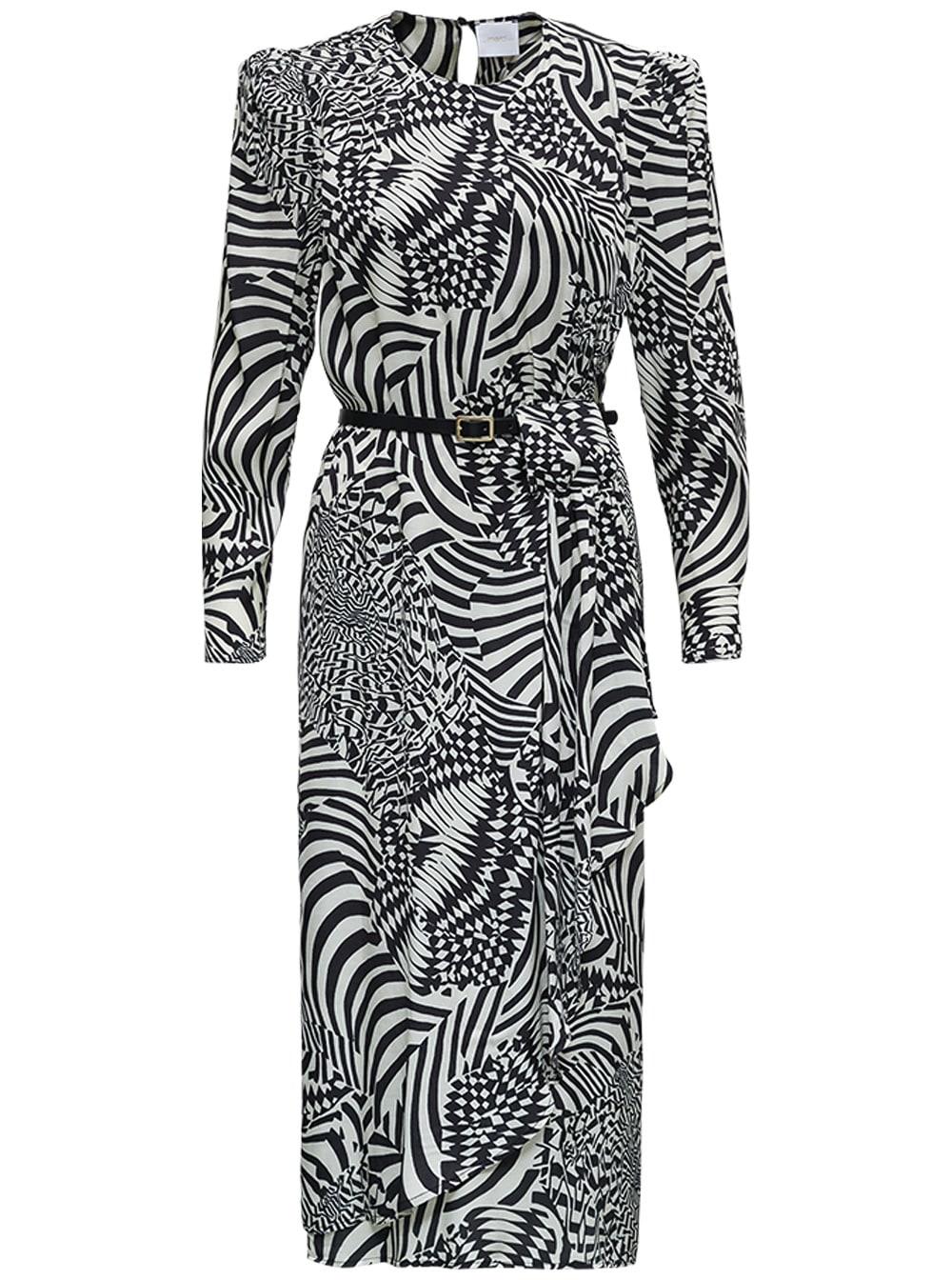 Black And White Geometric Printed Dress With Belt
