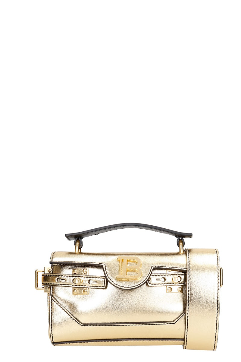 Balmain Leathers BBUZZ BAGUETTE HAND BAG IN GOLD LEATHER
