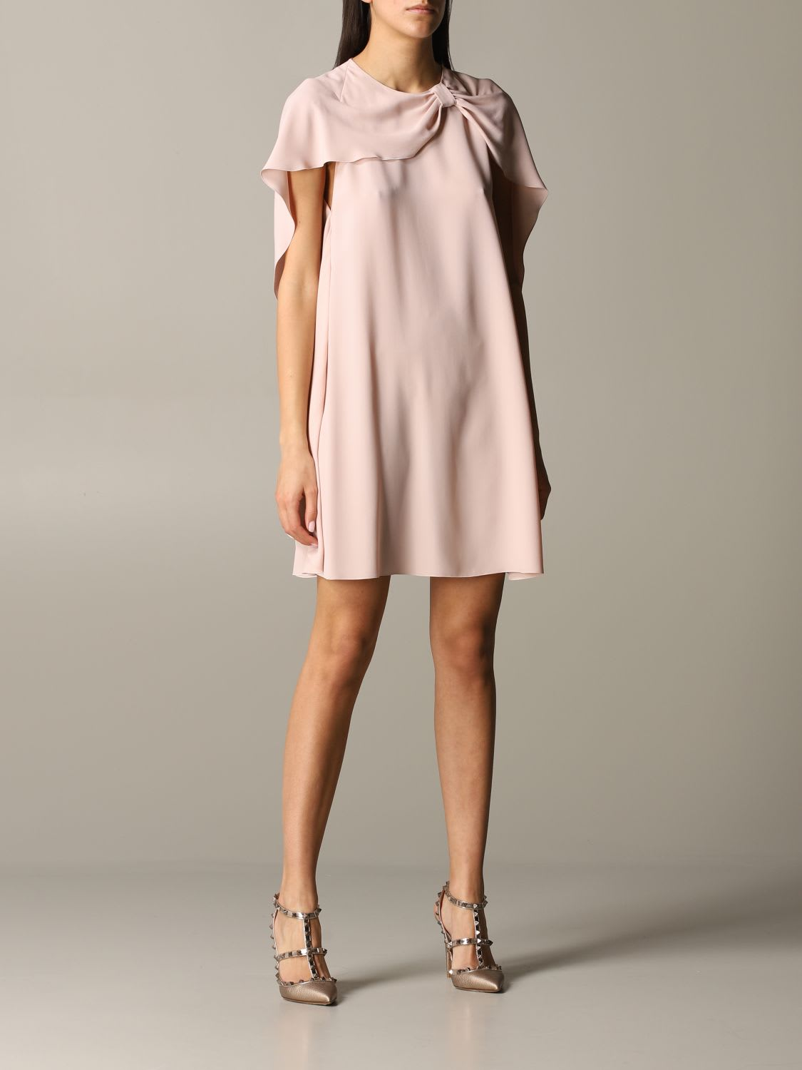 Buy Red Valentino Dress Red Valentino Silk Dress With Cape Sleeves online, shop RED Valentino with free shipping