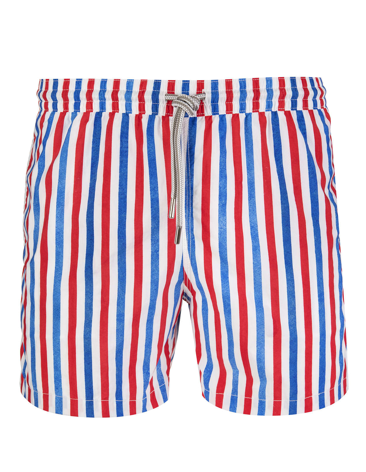 Red And Blue Equidistant Striped Swimsuit