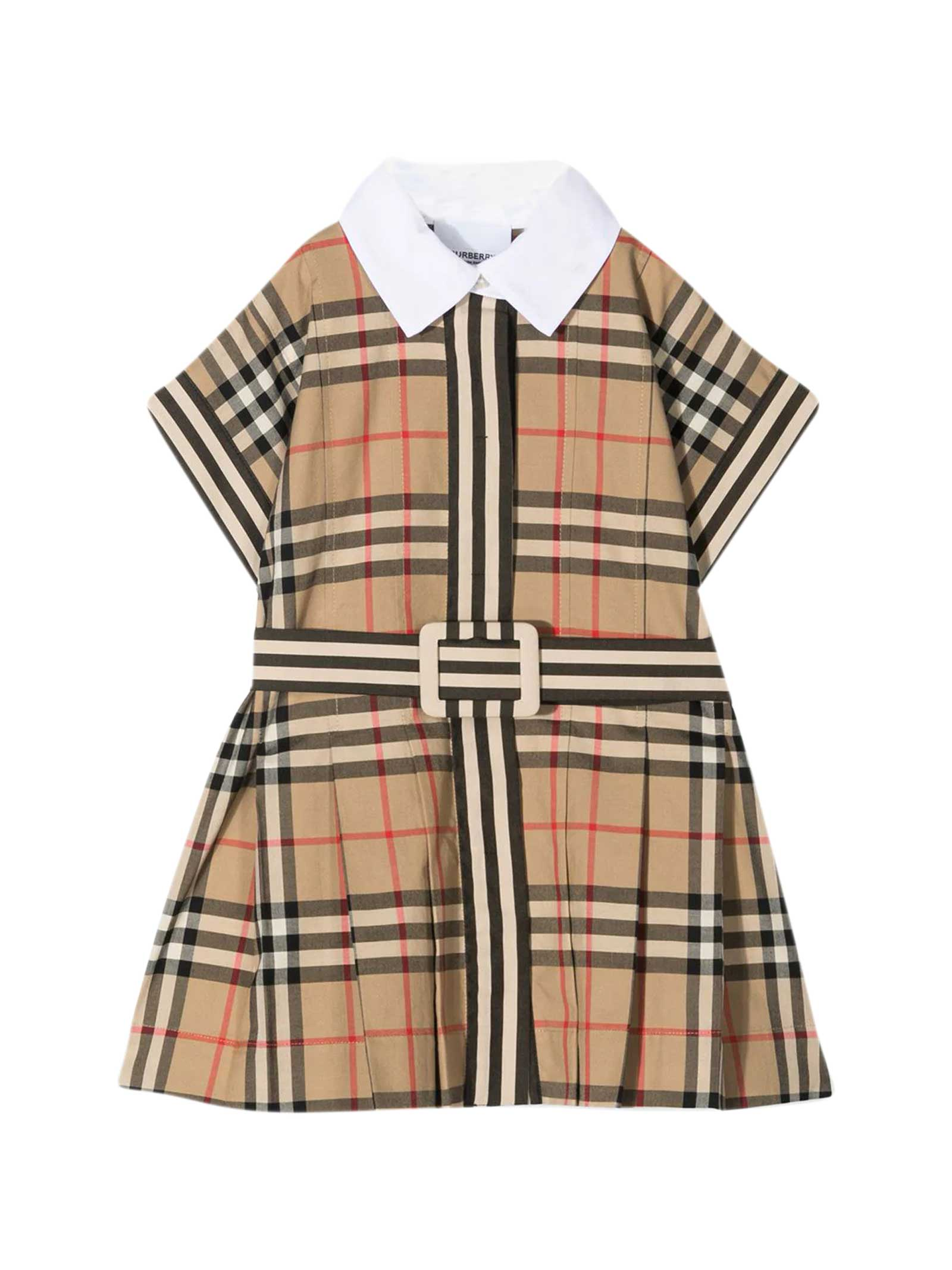 Burberry Babies' Vintage Check Dress In Beige
