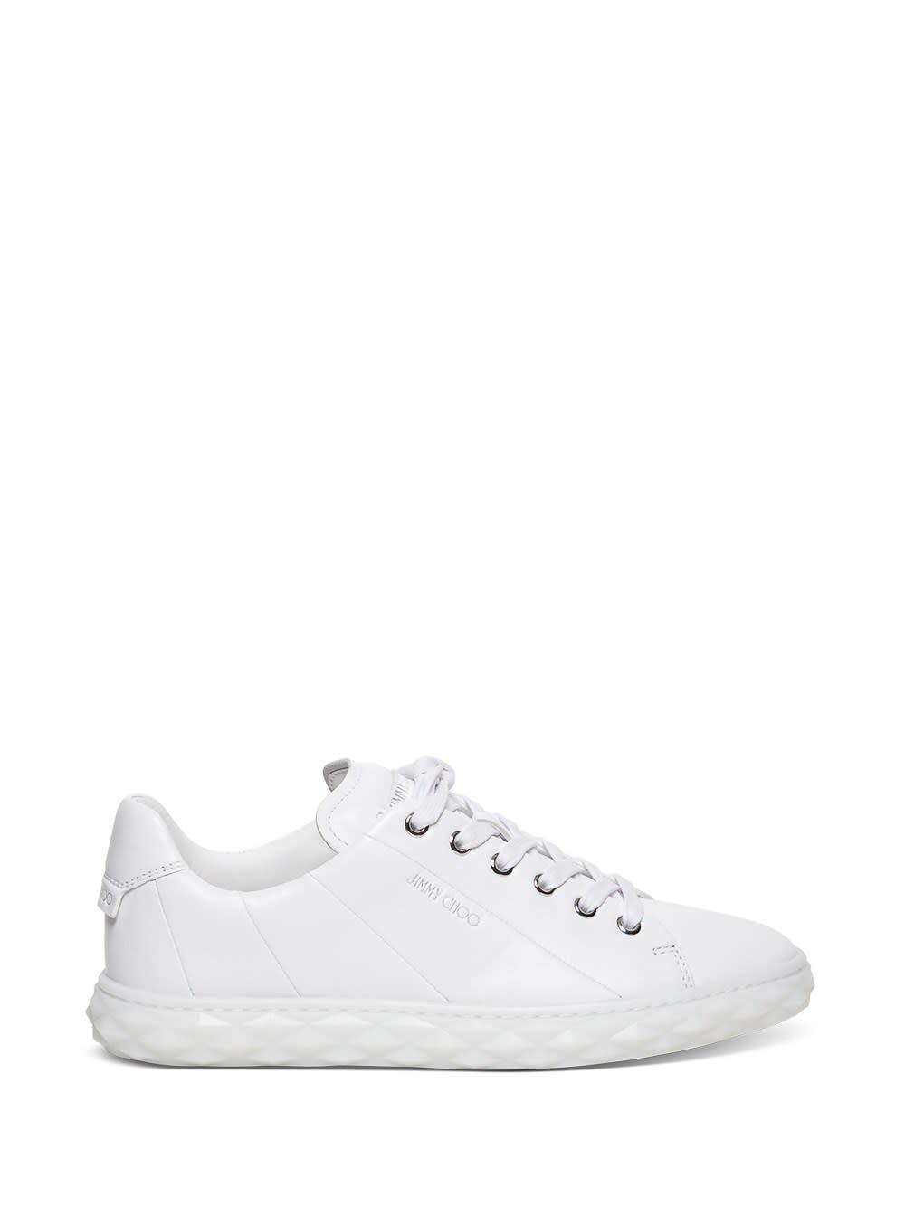 Jimmy Choo Sneakers DIAMOND LIGHT SNEAKERS IN WHITE LEATHER