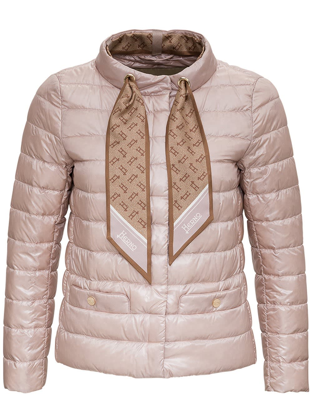 Herno Nylon Down Jacket With Logoed Scarf In Pink